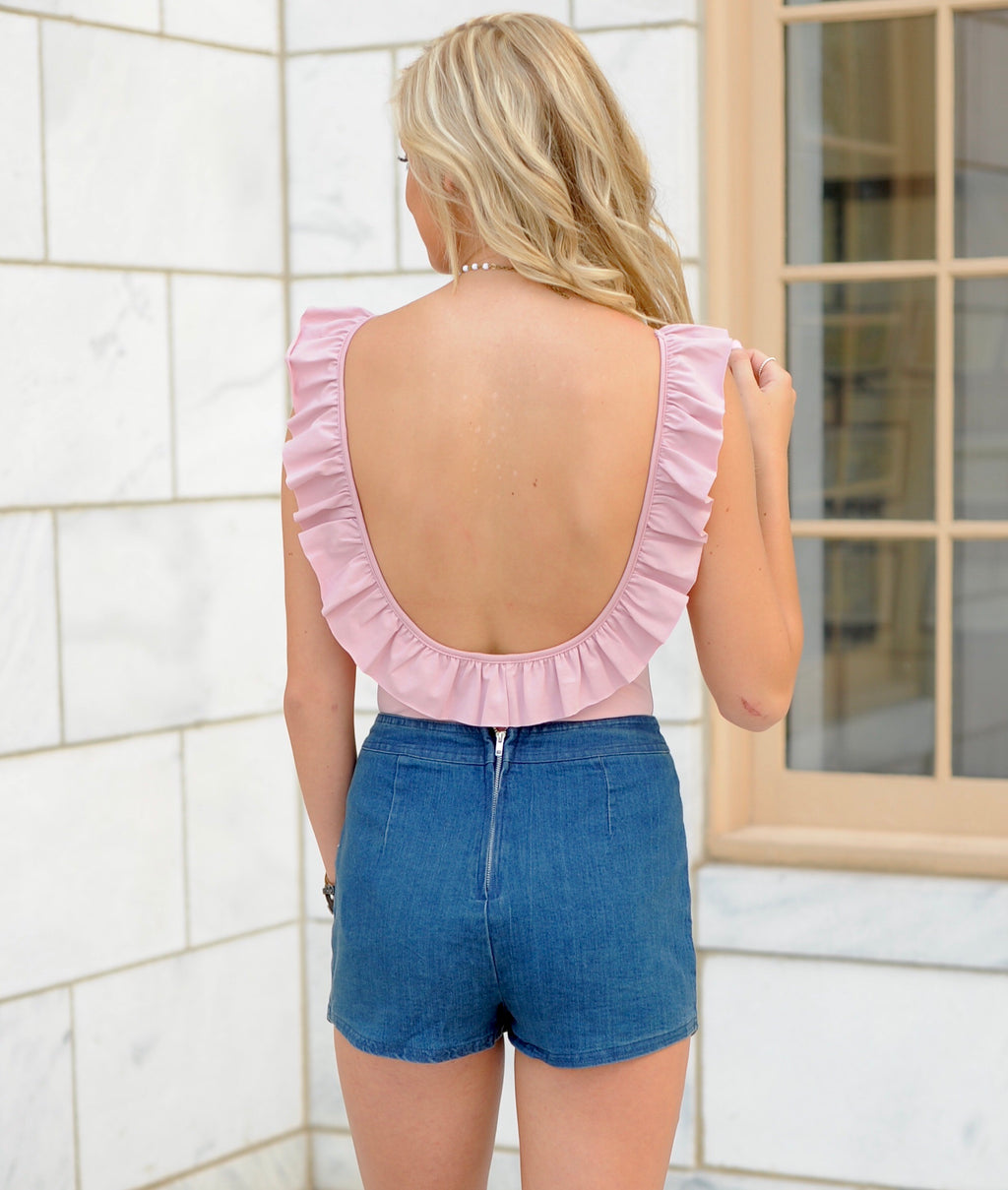 Open Back Ruffle Bodysuit
