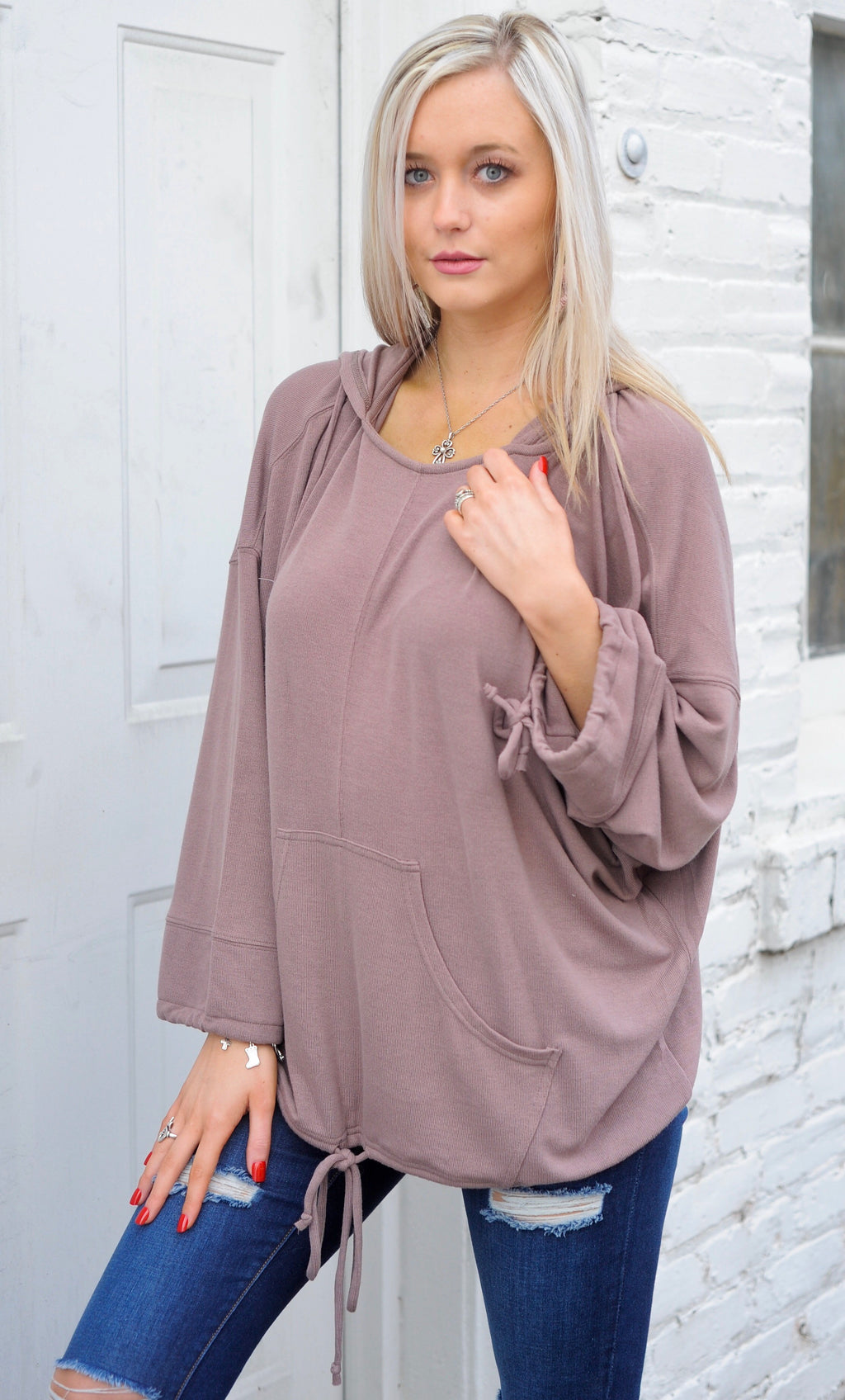 Hooded Slouch Tie Top