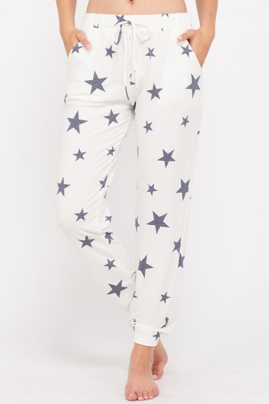Star Print Jogger Pants - Blue
