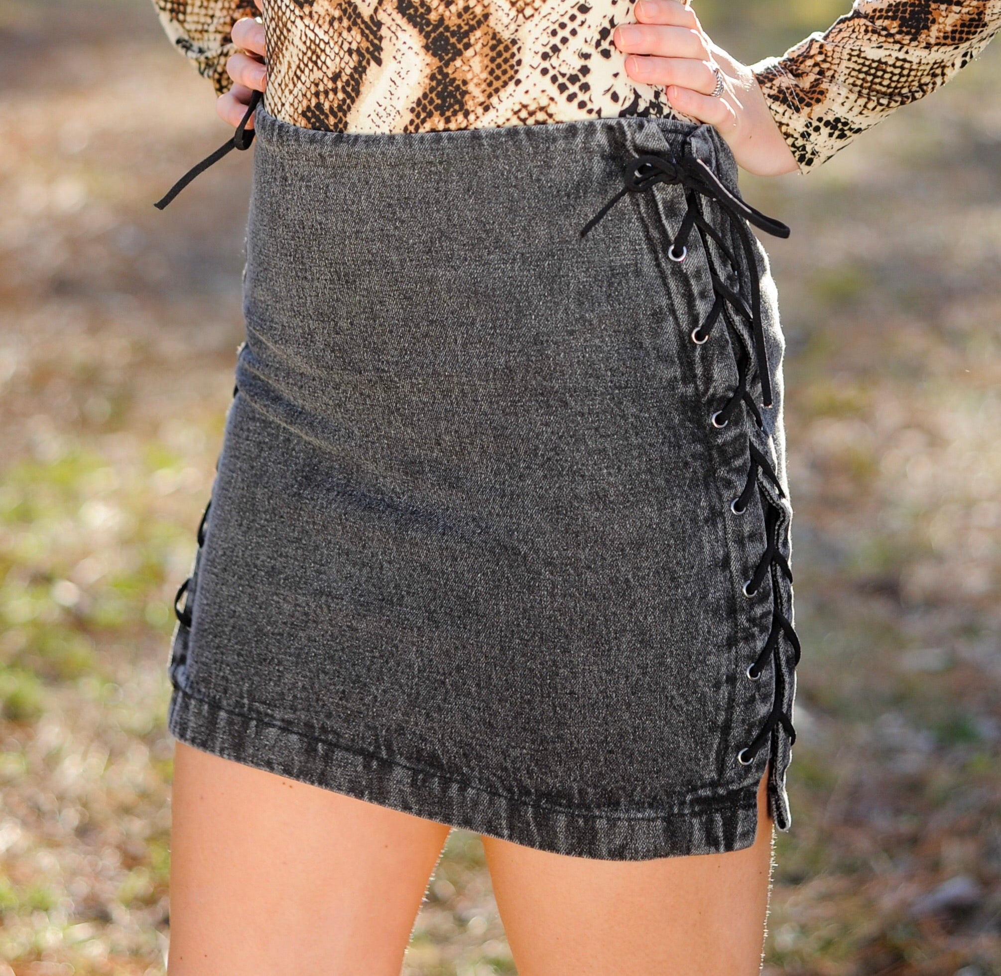 e6151f7bf1 Washed Black Side Lace Denim Skirt – Leap of Faith