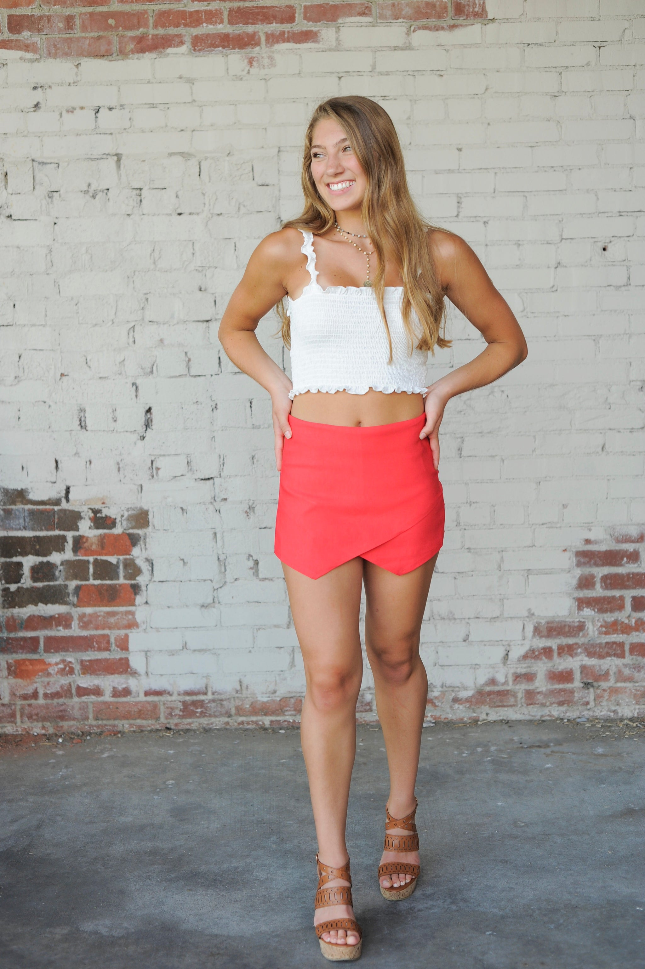 Basic Envelope Skort- Coral