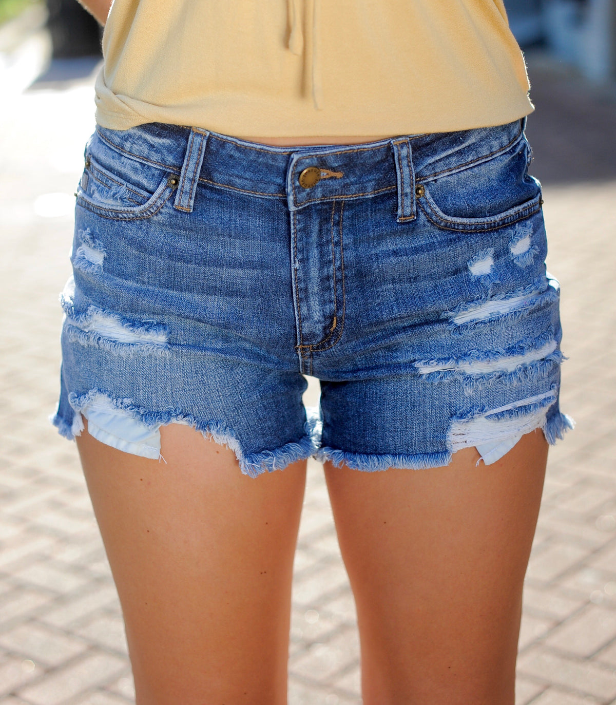 Sarah Distressed Denim Shorts - Medium Wash