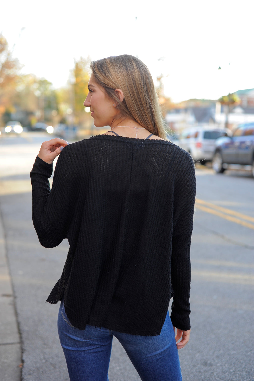 V Neck Black Thermal Top