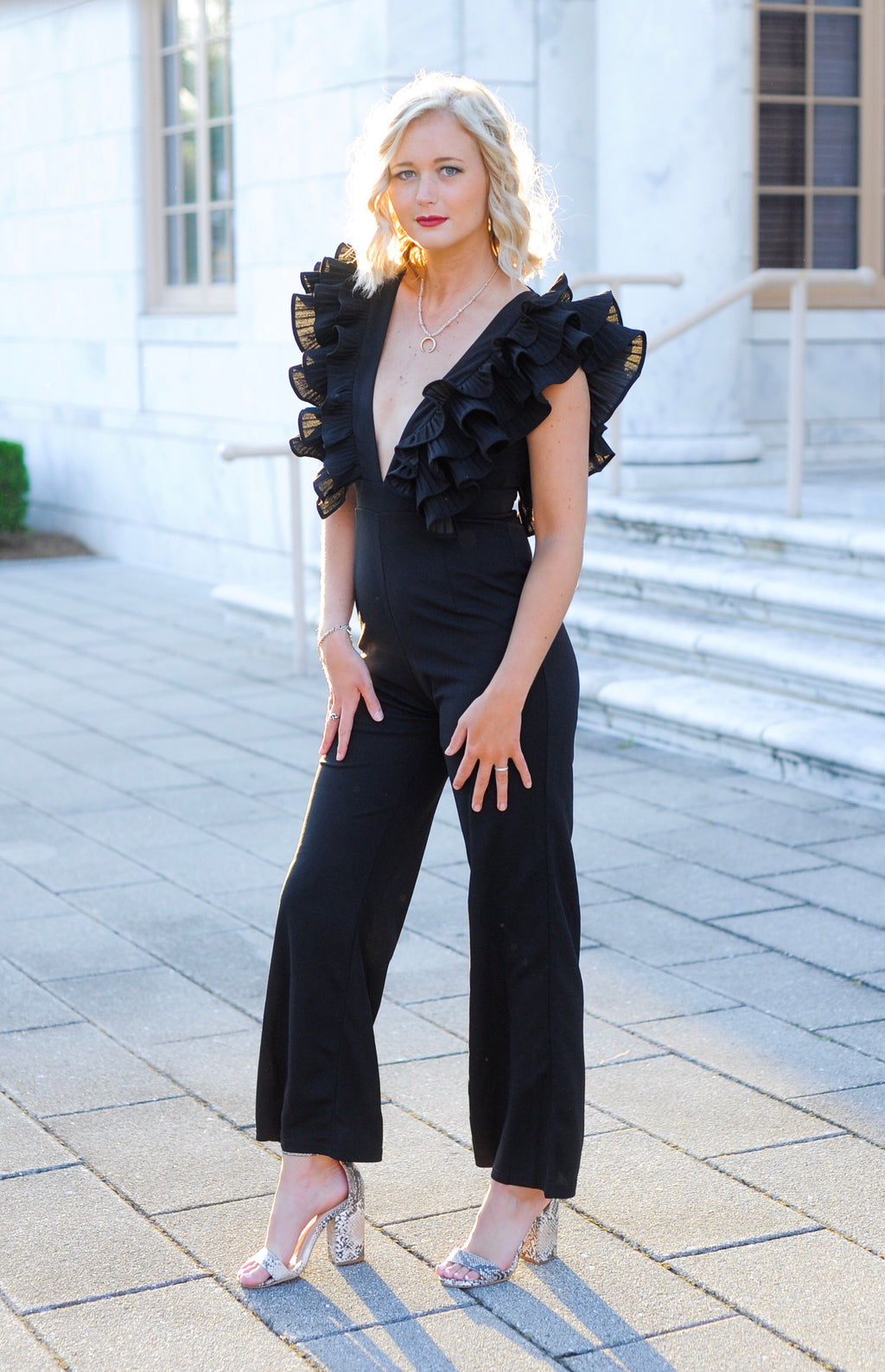 Deep V Ruffle Jumpsuit - Black