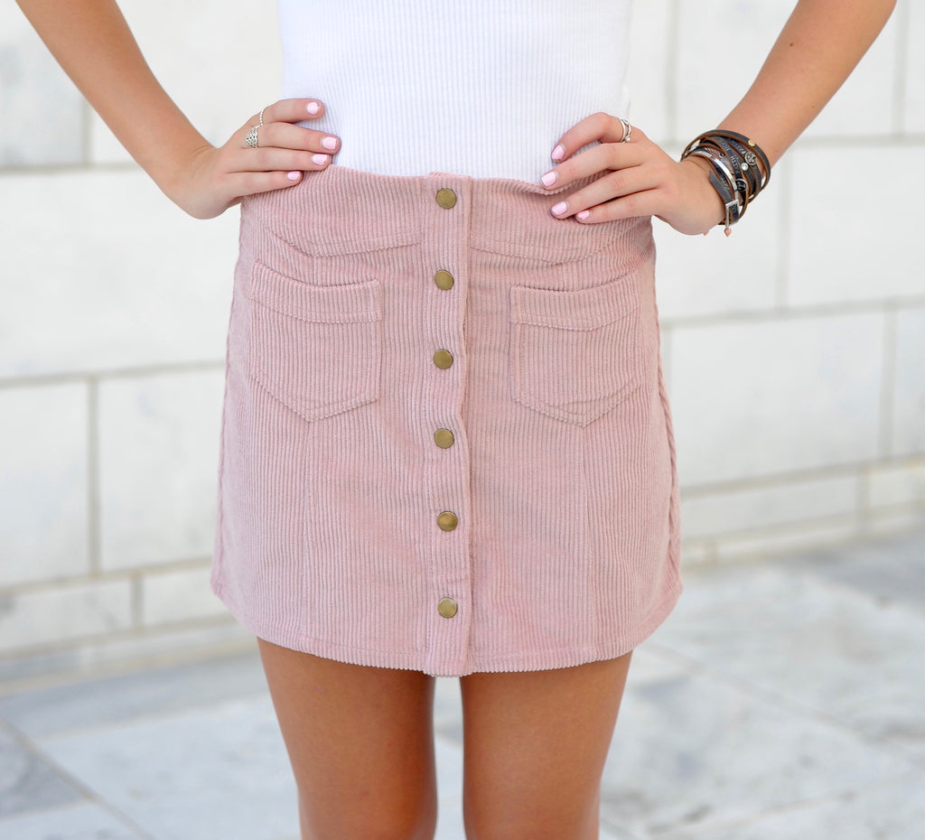 Button Up Corduroy Skirt- Pink