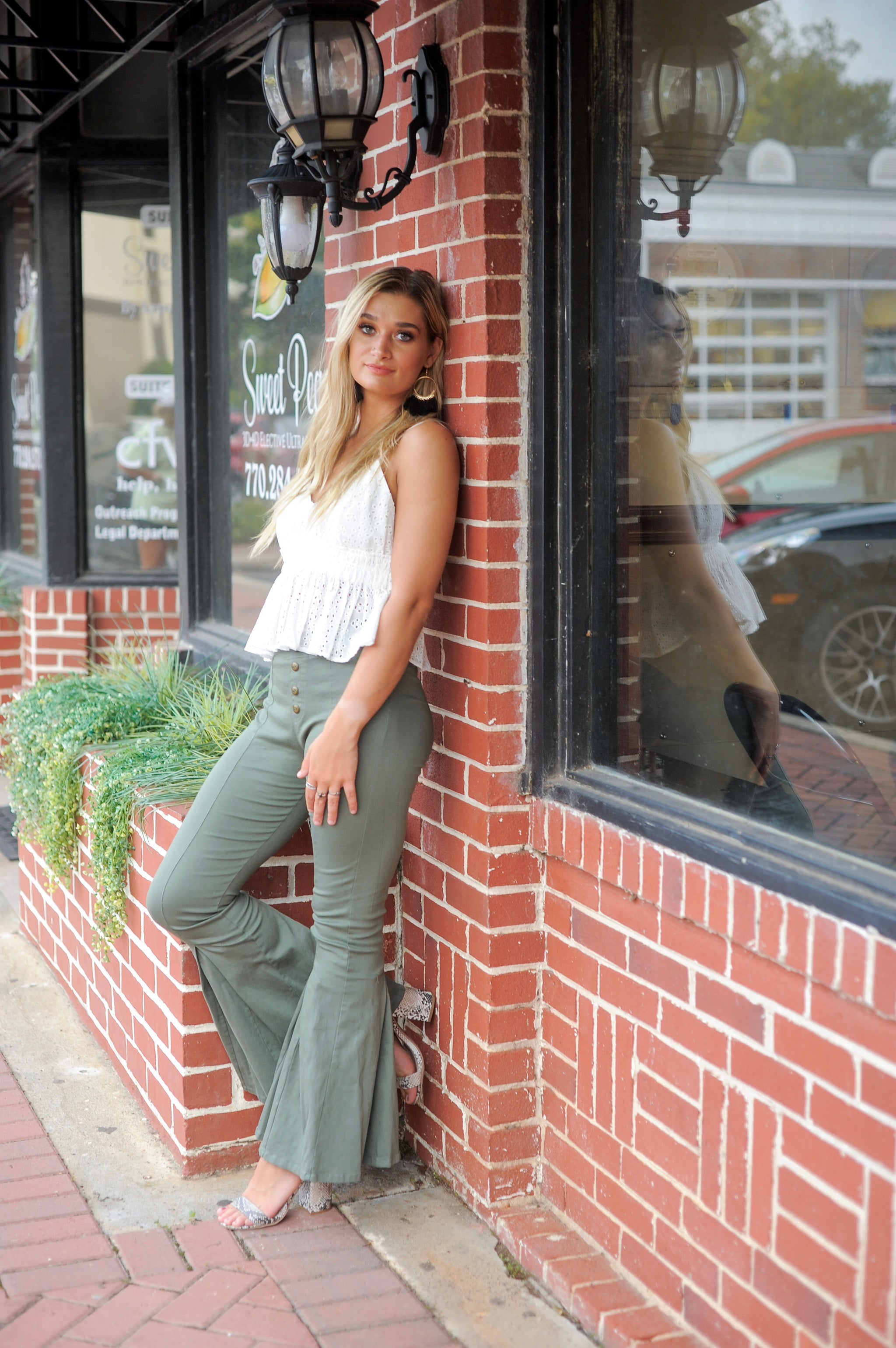 Olive Flare Pants
