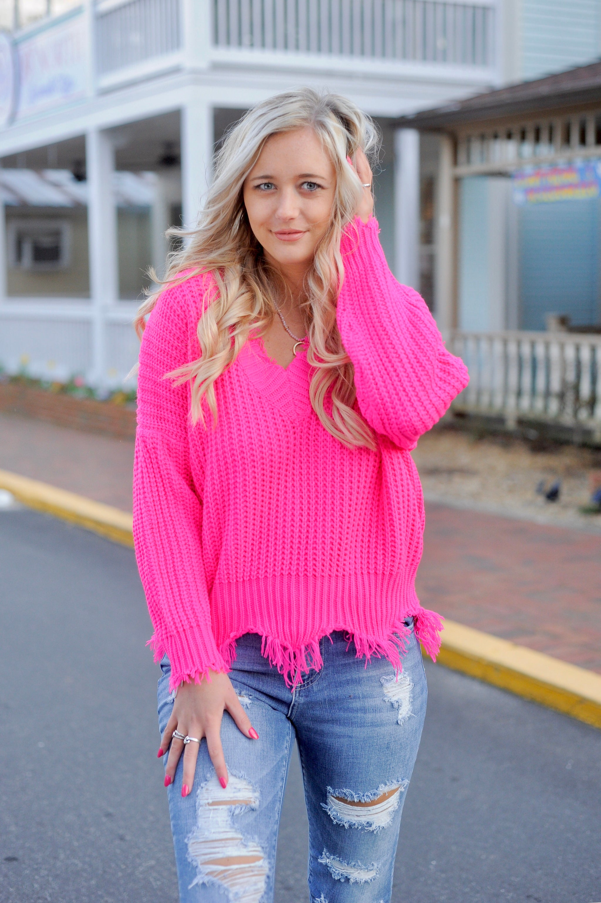 Frayed V Neck Sweater - Hot Pink