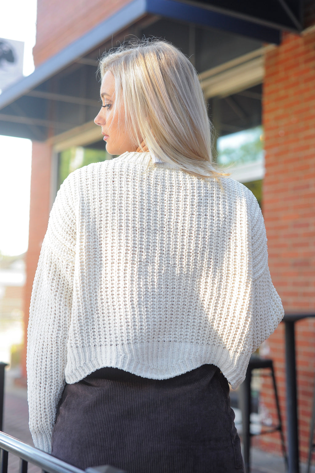 Scallop Edge Knit Sweater- Cream
