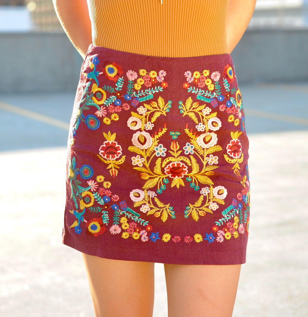 Floral Embroidered Skirt- Wine