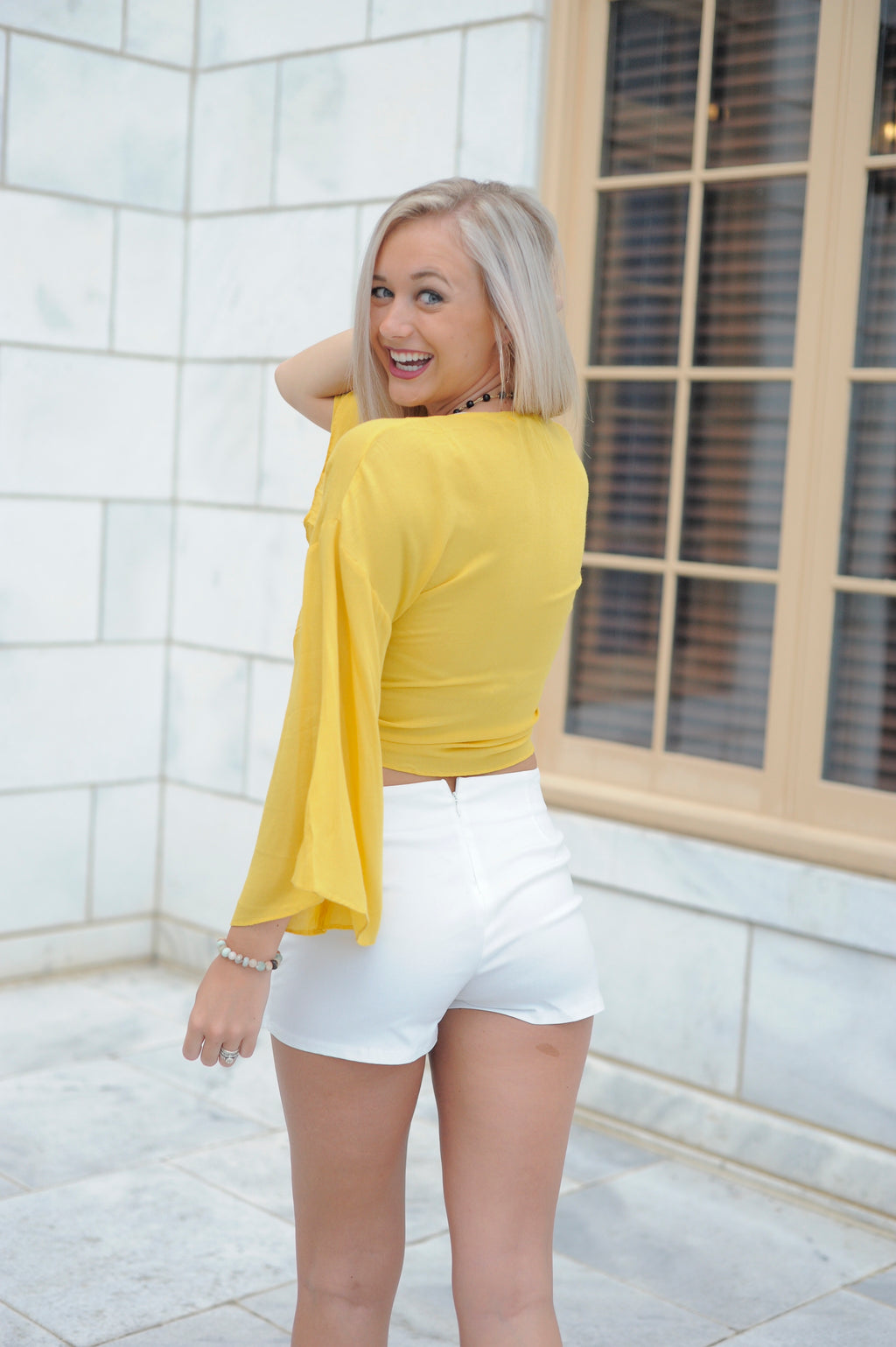 Yellow Front Tie Crop Top