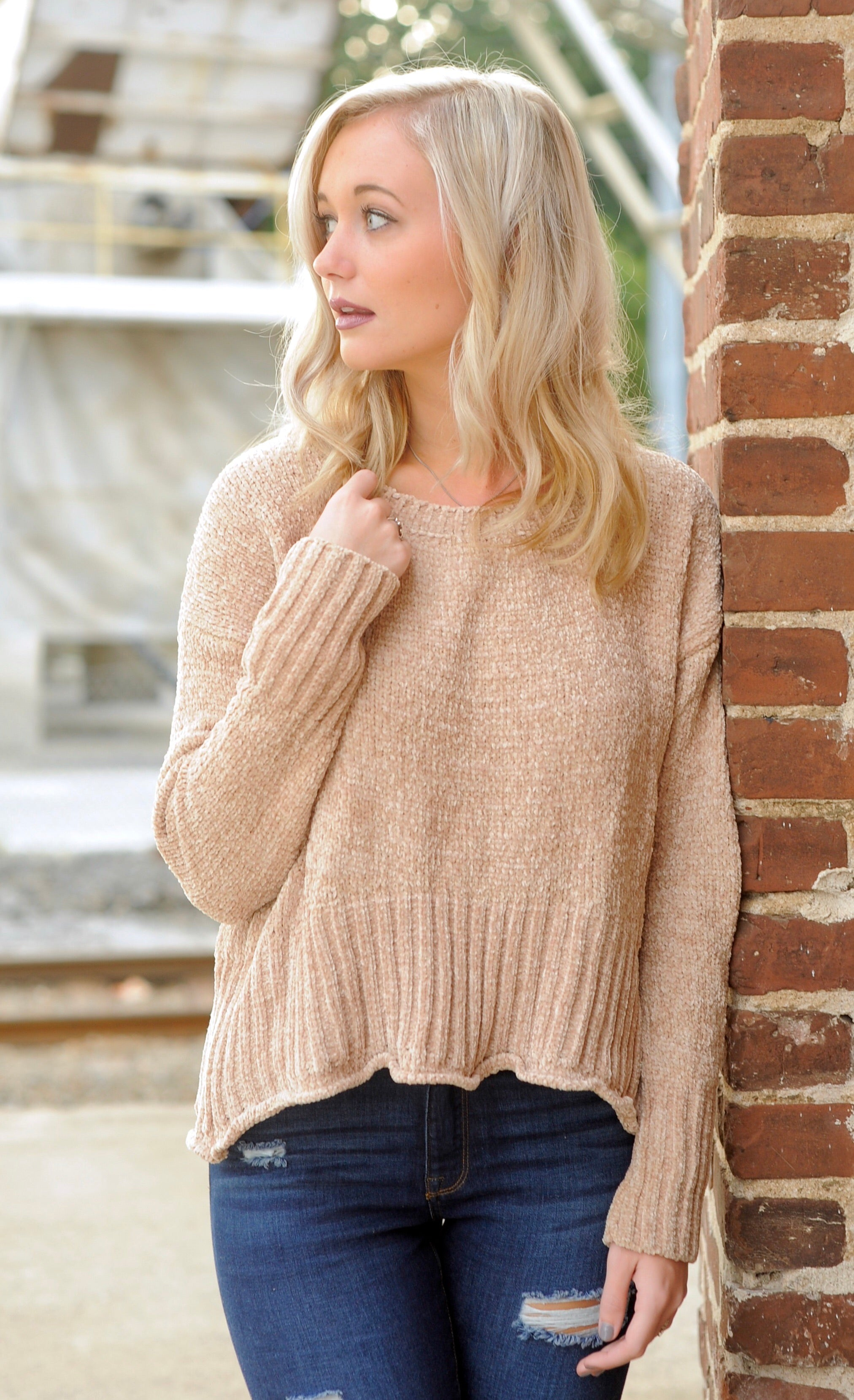 50aac761f36 Ribbed Hem Chenille Sweater – Leap of Faith