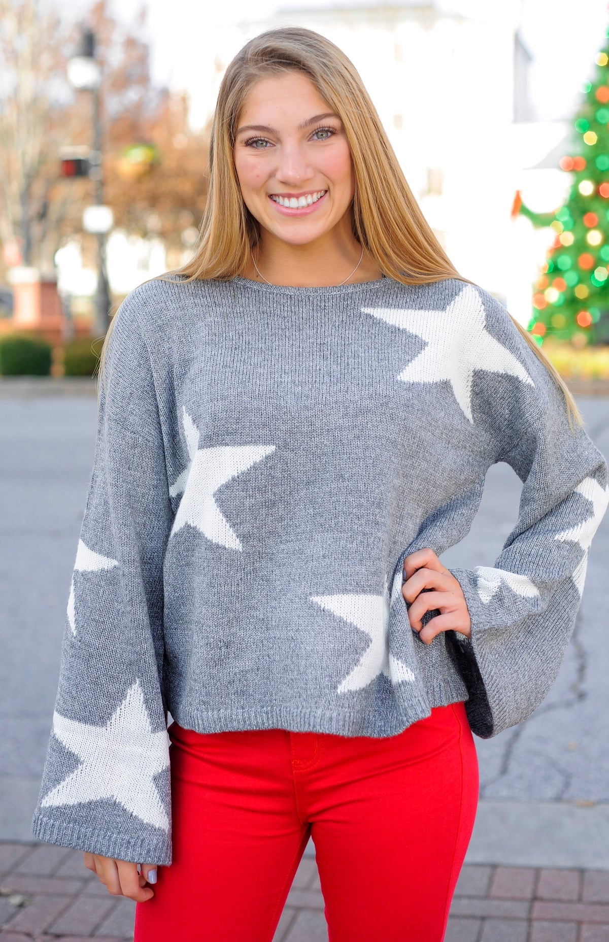 Bell Sleeve Star Sweater
