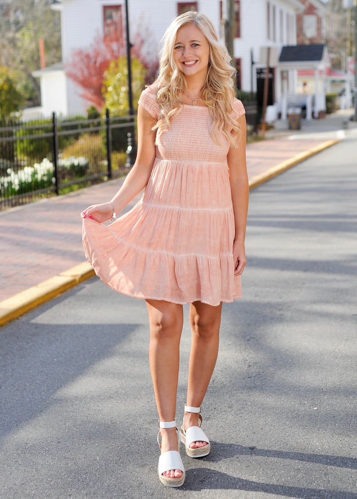 Coral Smocked Ruffle Dress