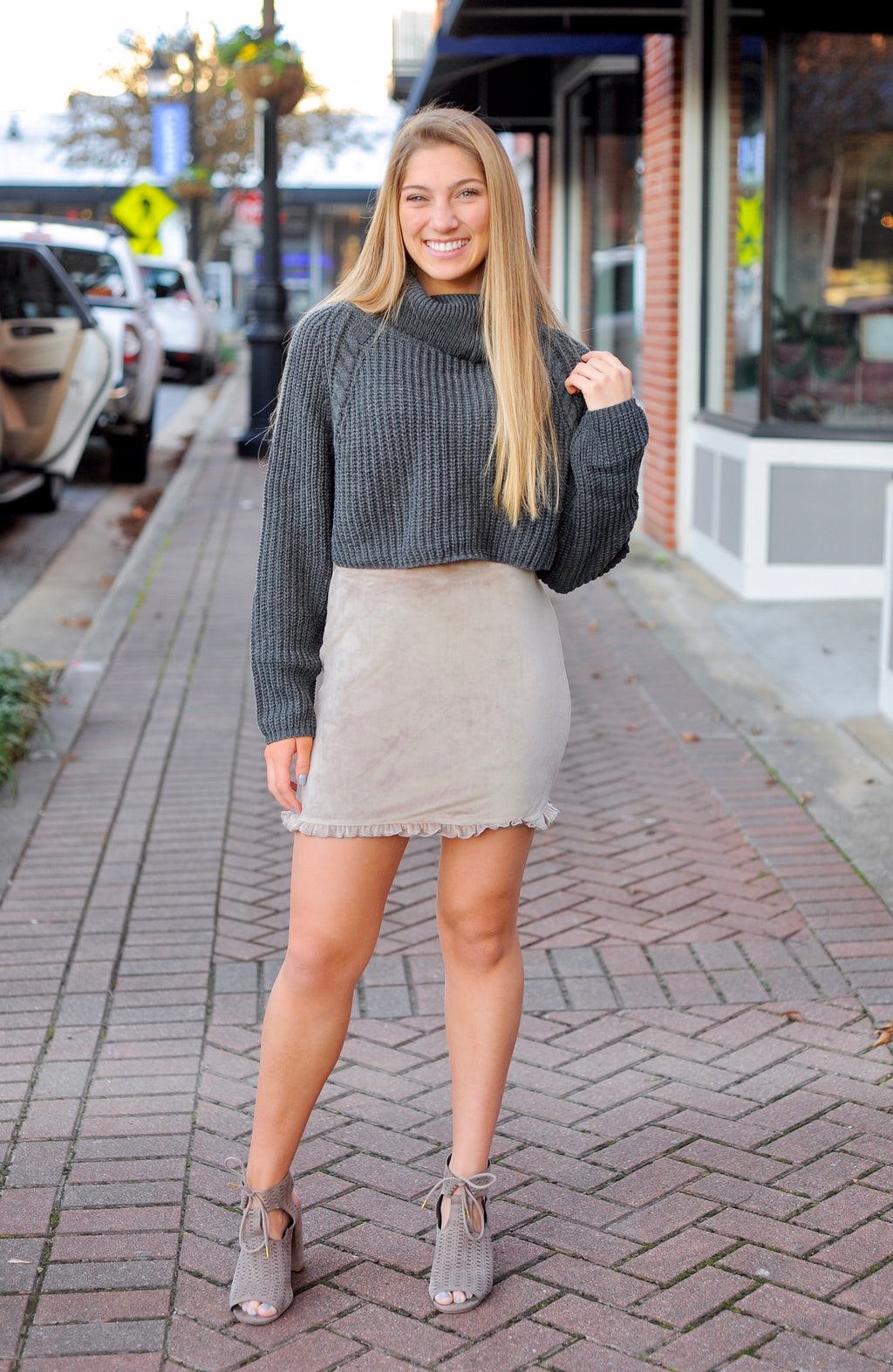 Charcoal Cropped Turtle Neck Sweater
