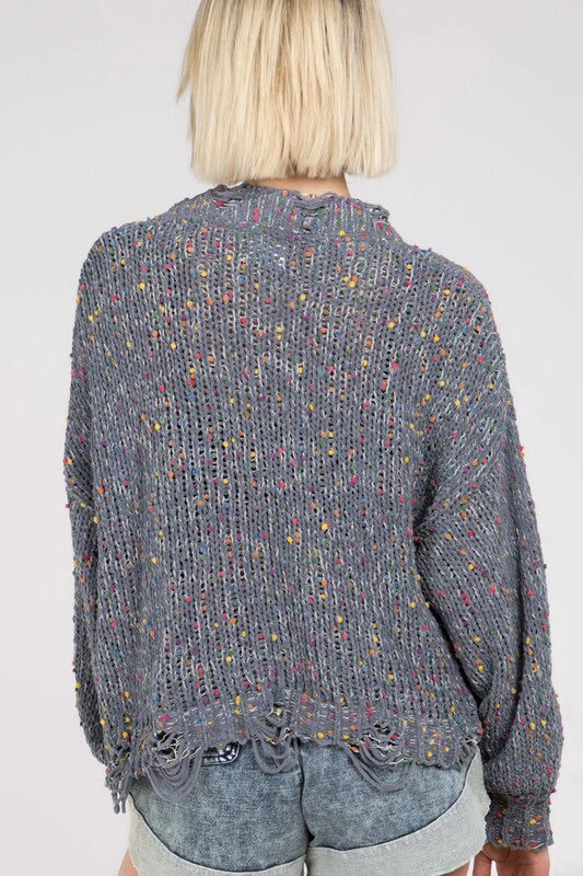 Confetti Distressed Sweater- Grey