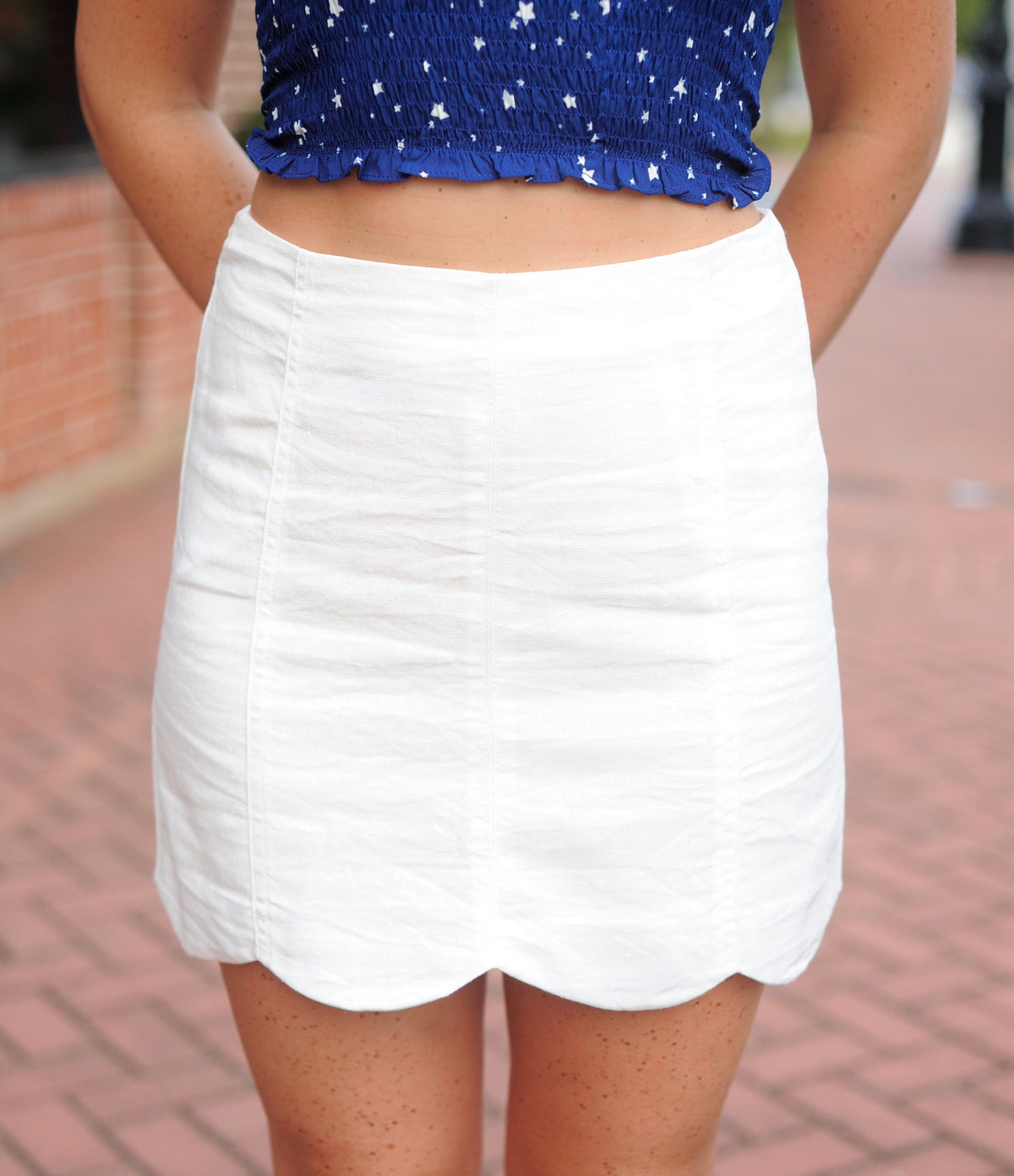White Scalloped Edge Mini Skirt