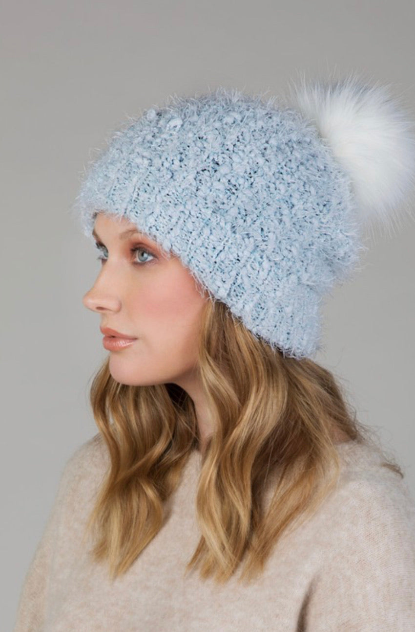 Eyelash Knit Beanie - Blue