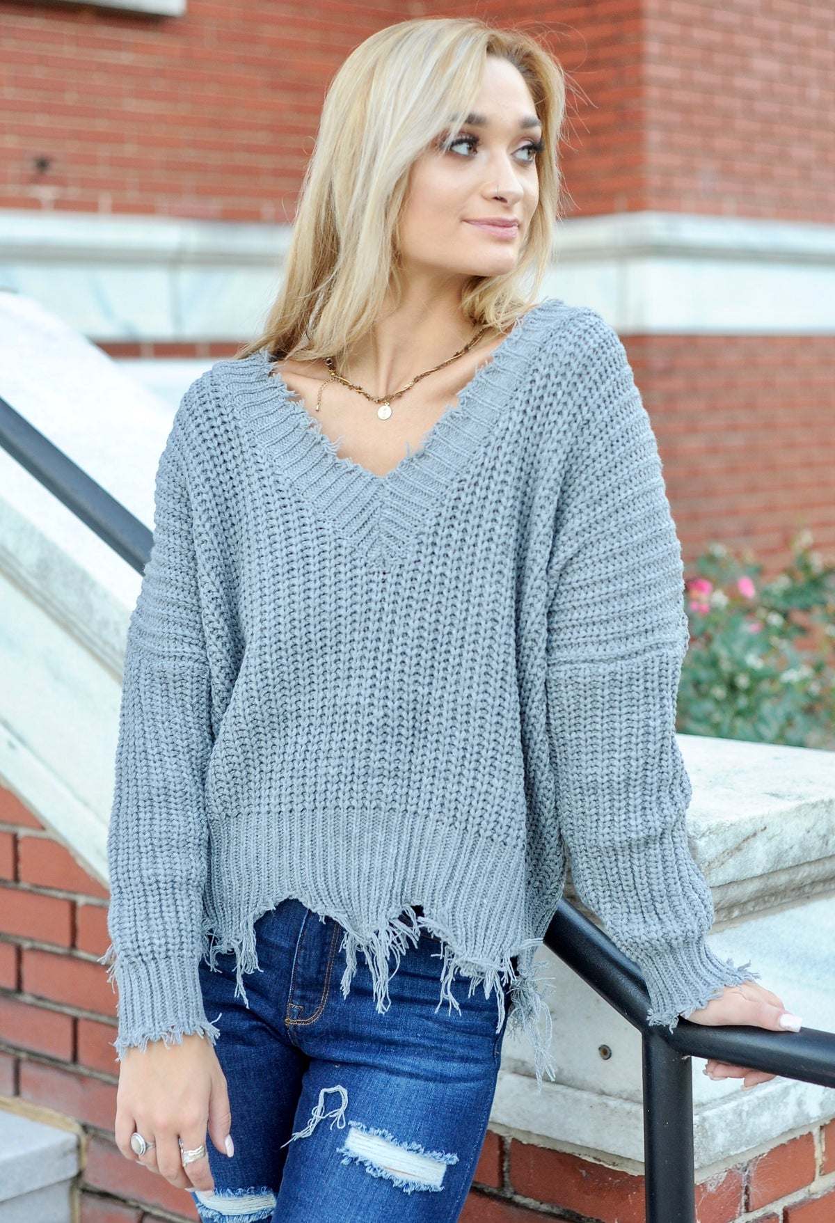 Frayed V Neck Sweater - Grey