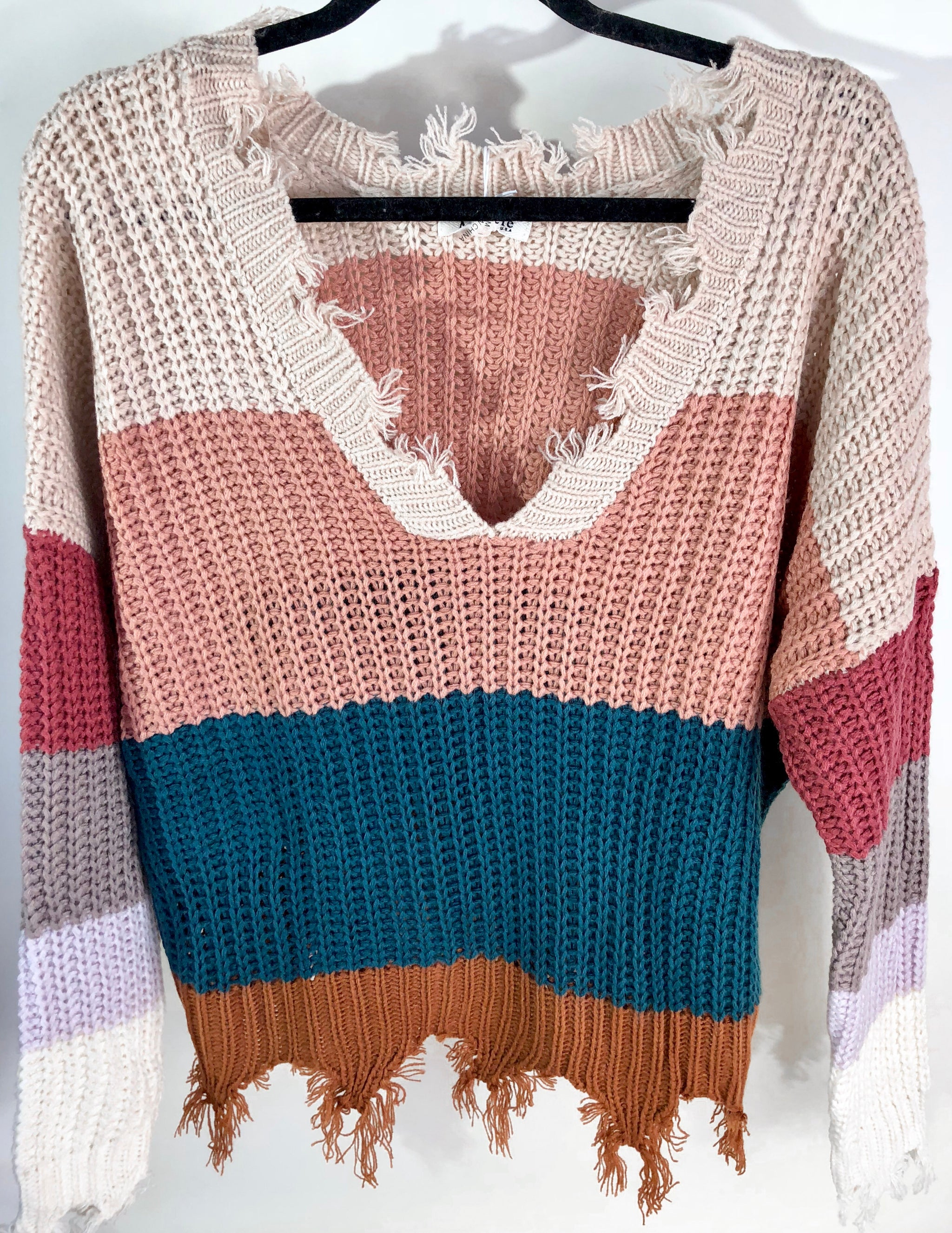 Teal Color Block Distressed Sweater