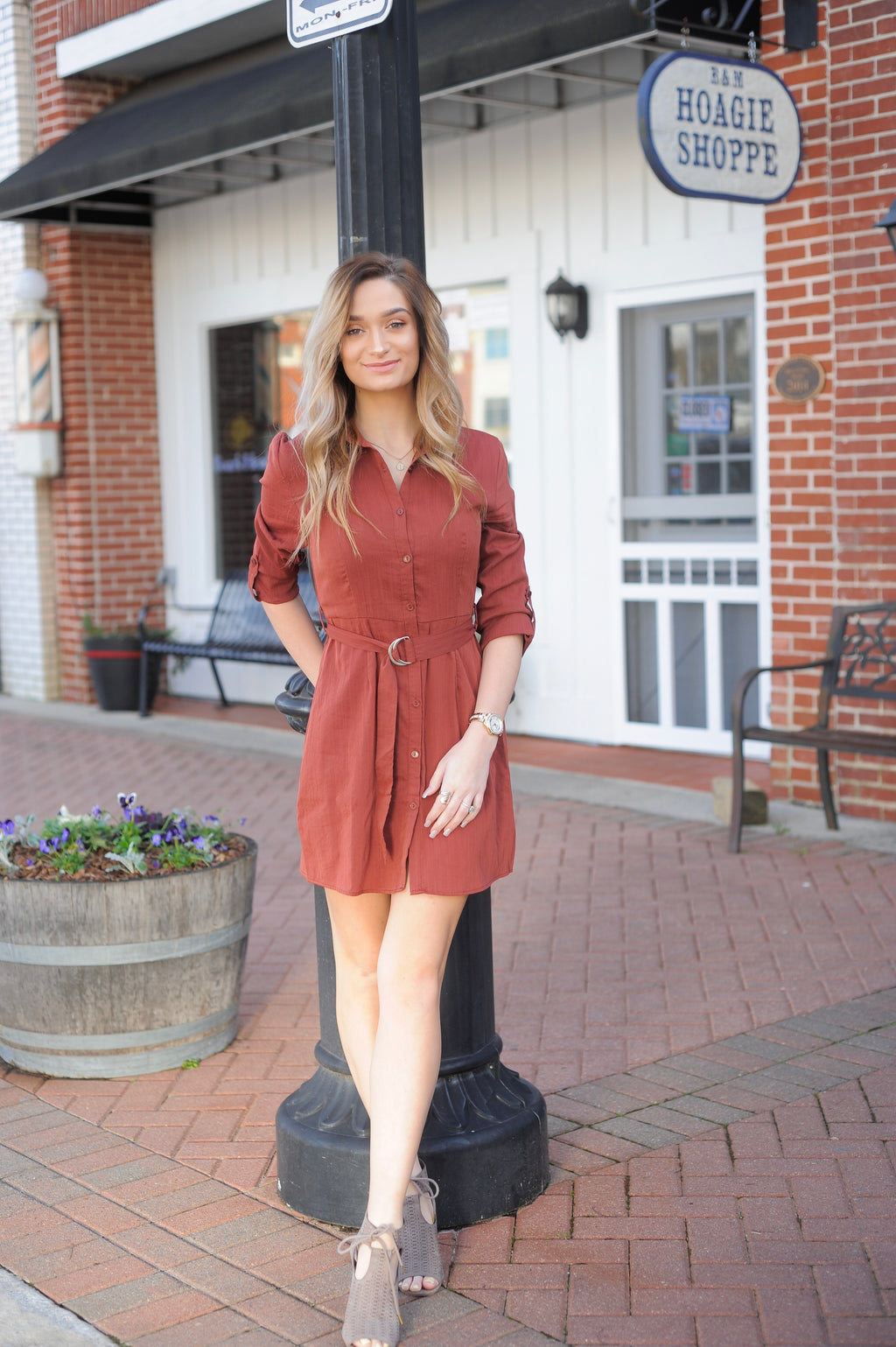 Marsala Belted Button Down Dress