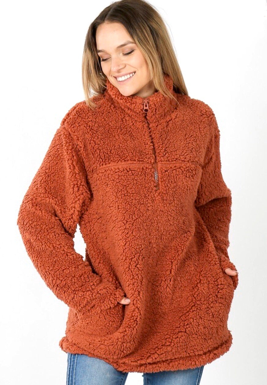 Rust Sherpa Pullover
