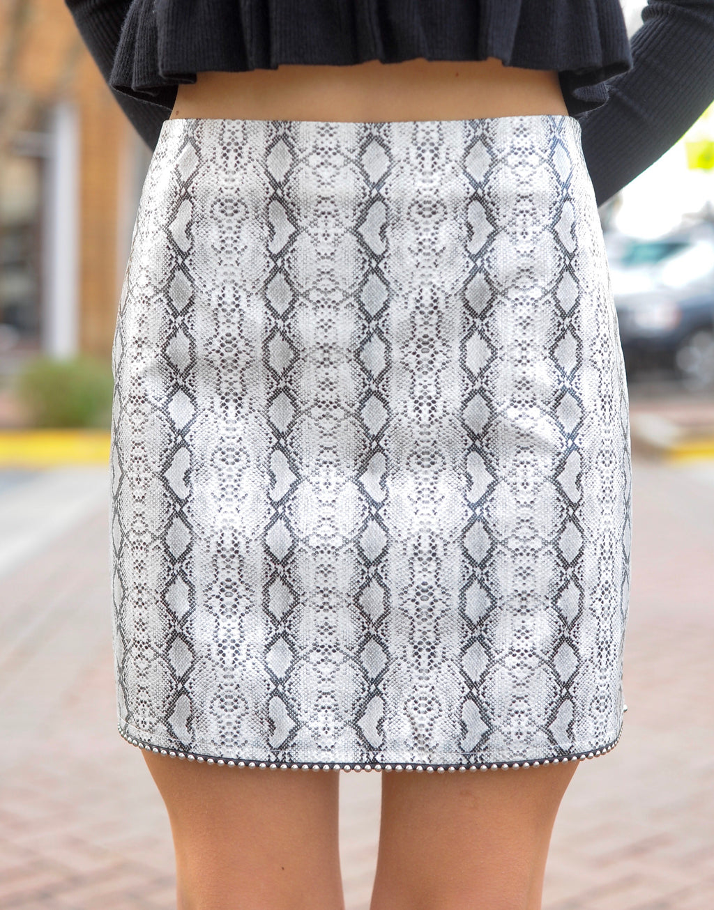 Beaded Hem Snakeskin Skirt - Grey
