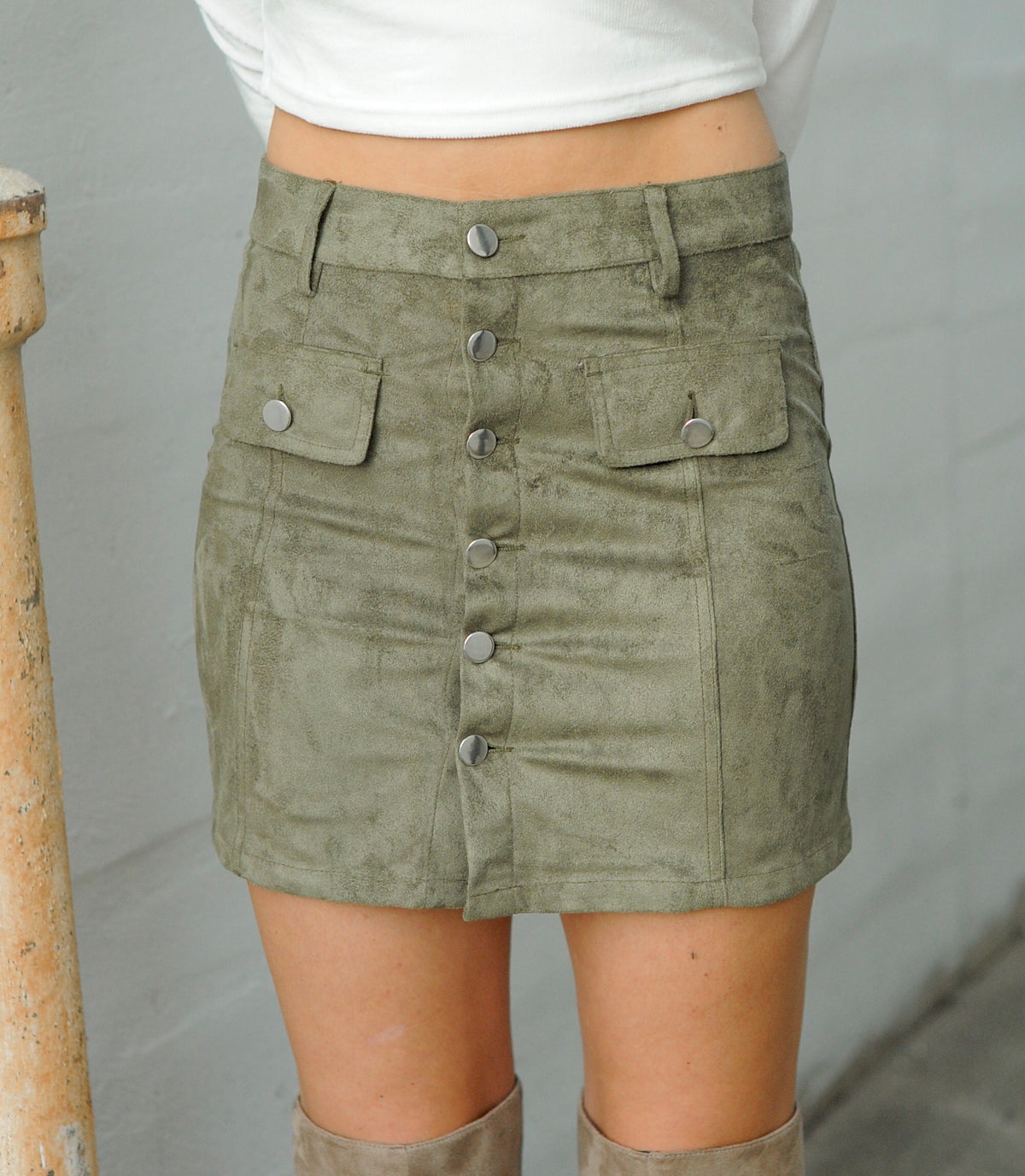 Olive Suede Button Up Skirt