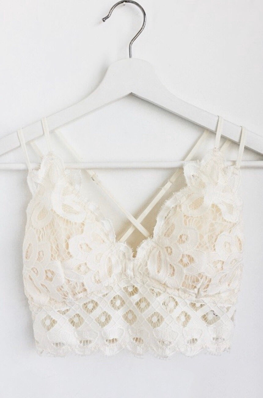 Double Strap Scalloped Lace Bralette - Off White