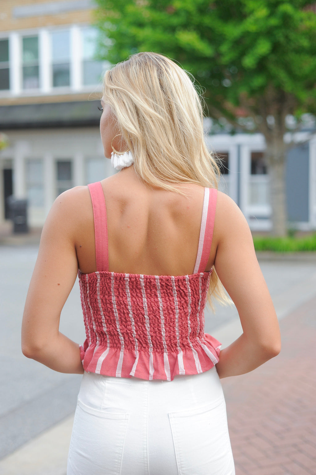 Rust Striped Smocked Crop Top