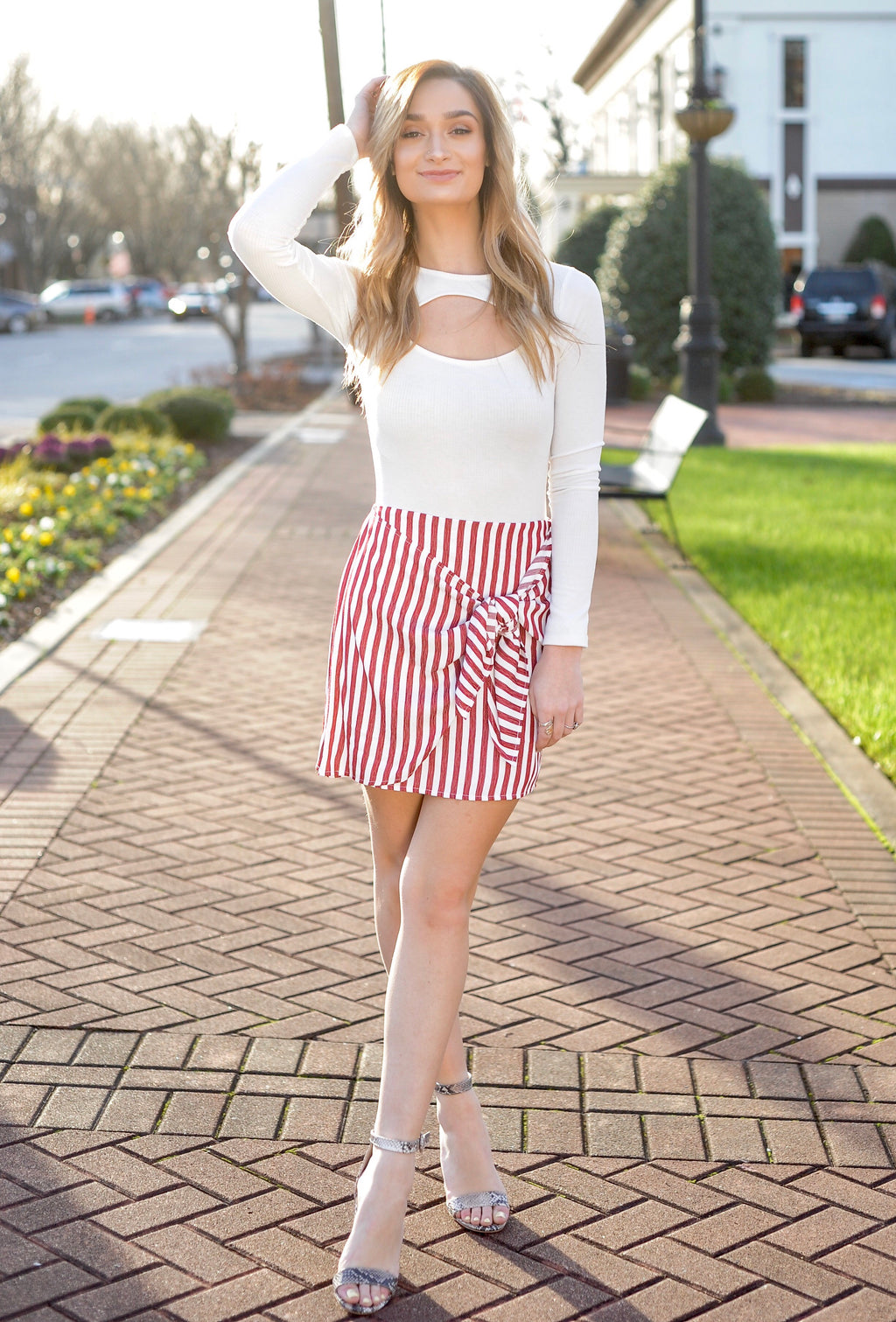 Red Striped Wrap Skirt
