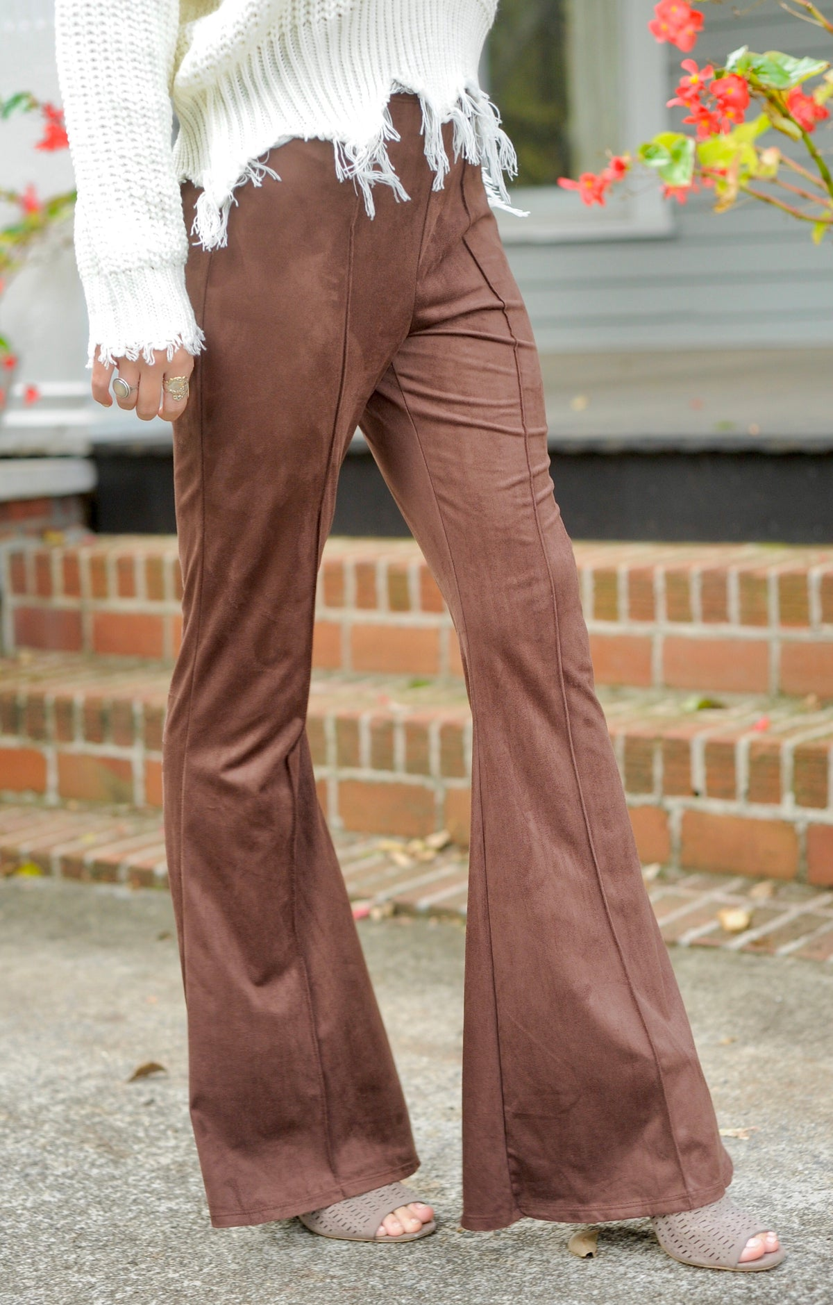 Chocolate Sueded Bell Bottom Pants