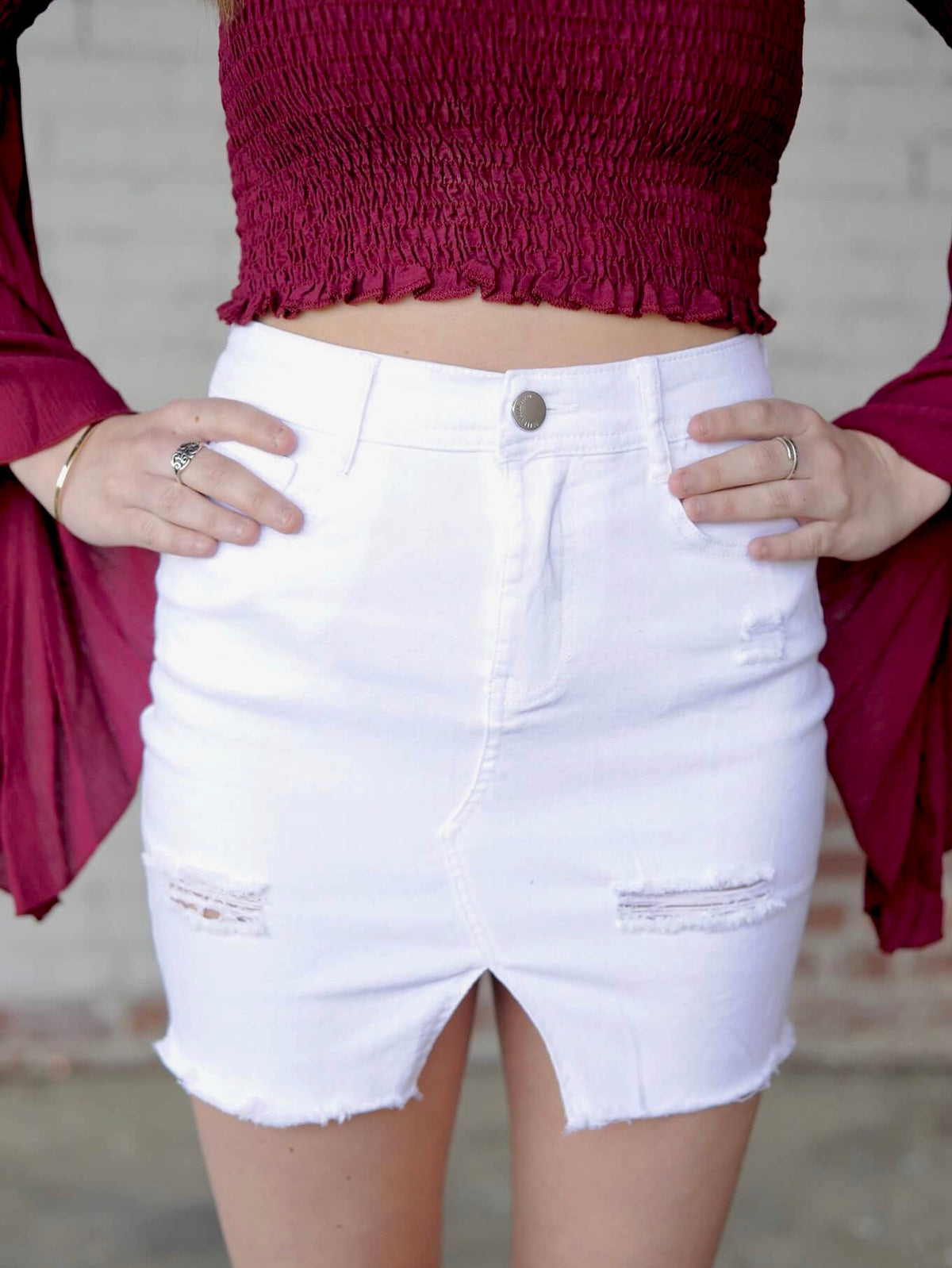 Distressed White Denim Skirt