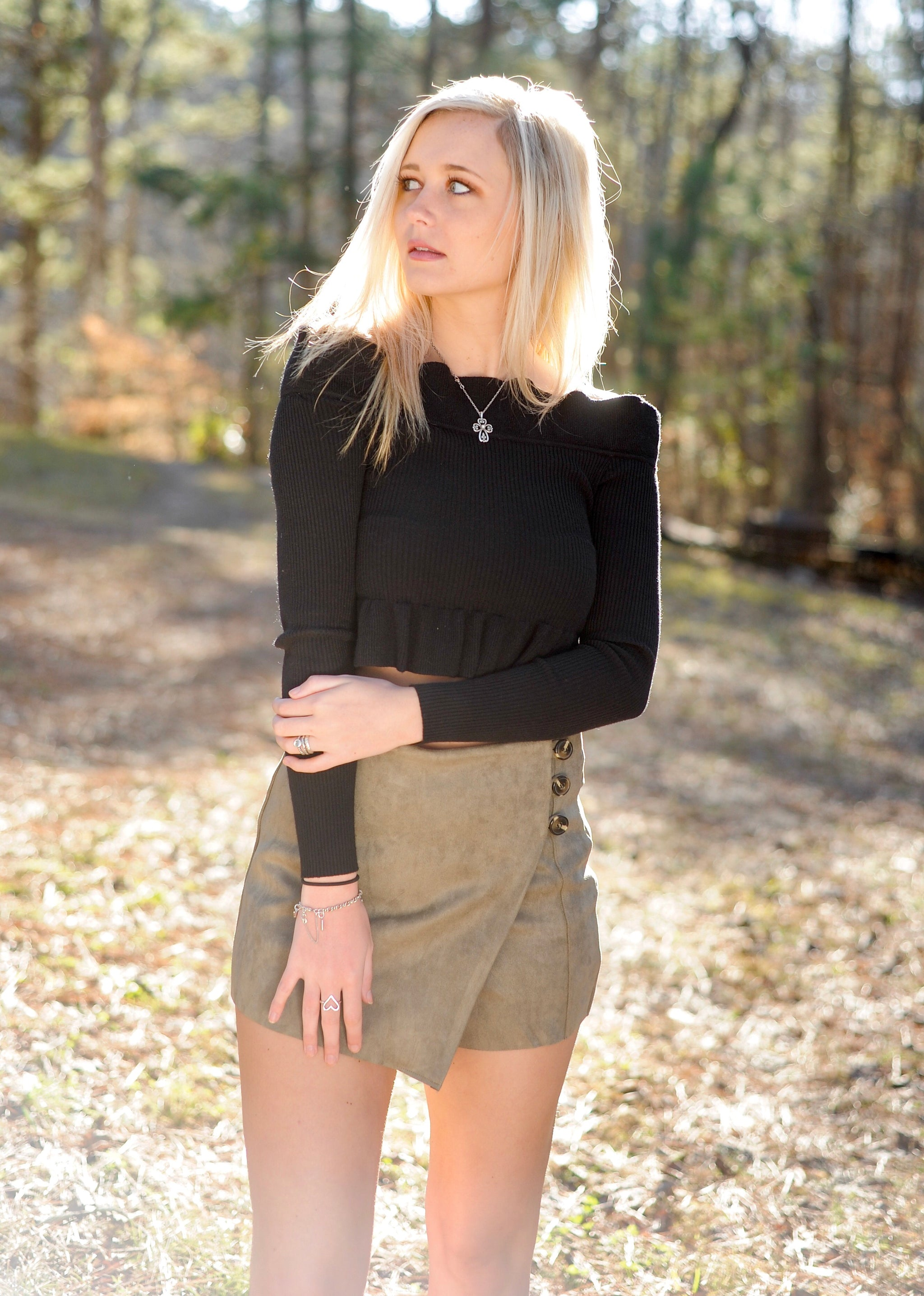 Suede Button Wrap Skort