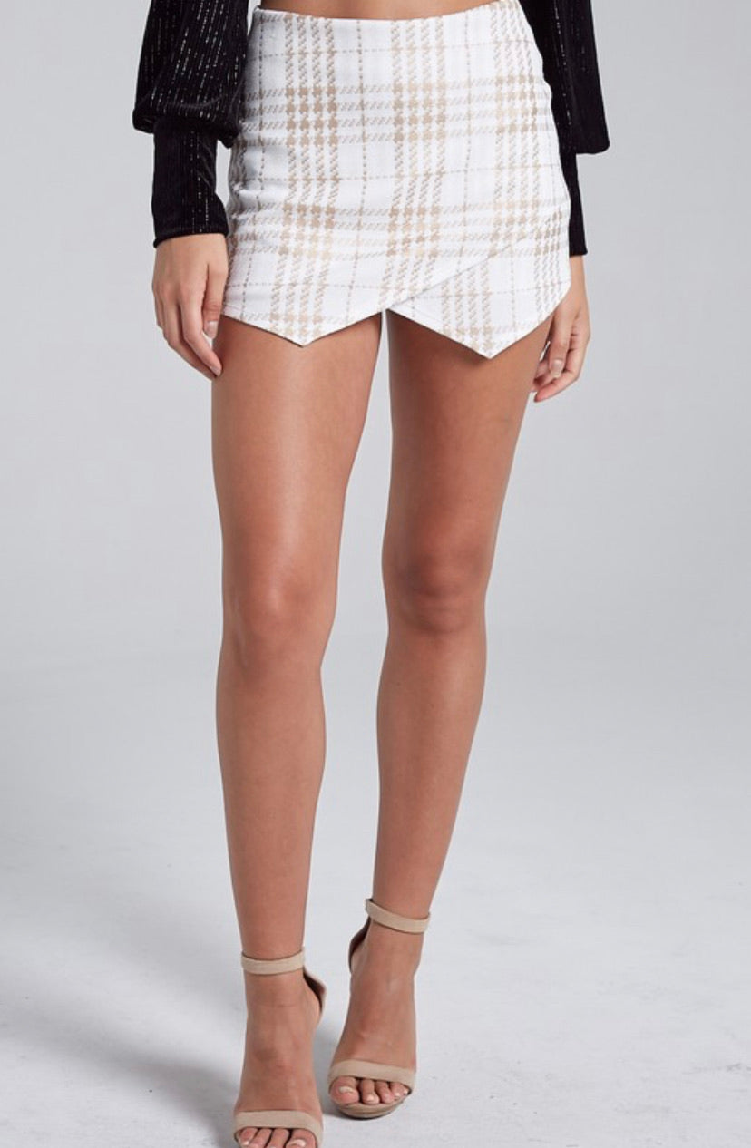 White/Gold Envelope Skort