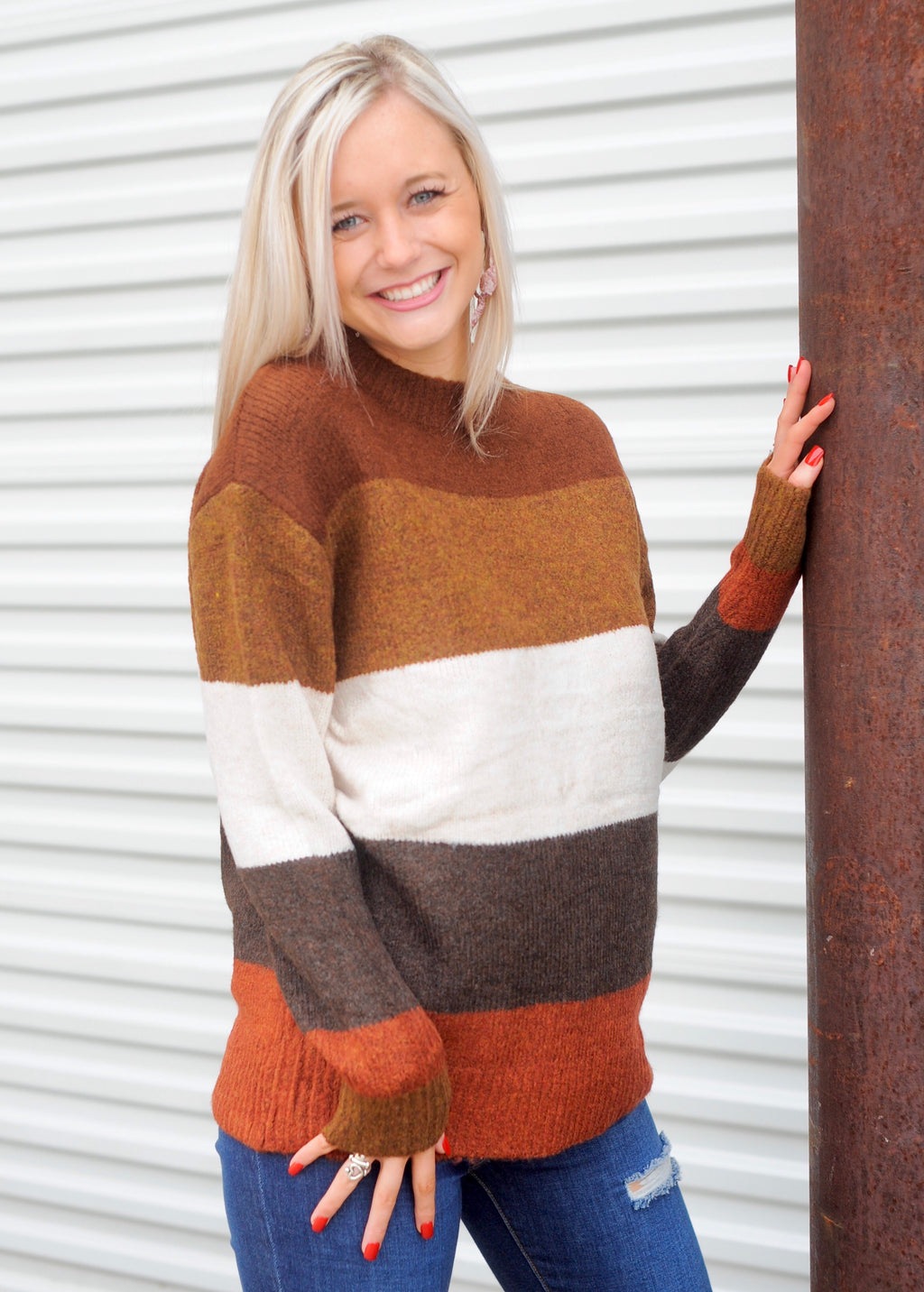 Brown Combo Fuzzy Sweater