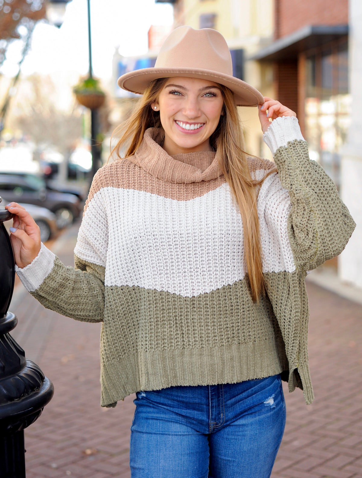 Camel/Olive Turtle Neck Sweater