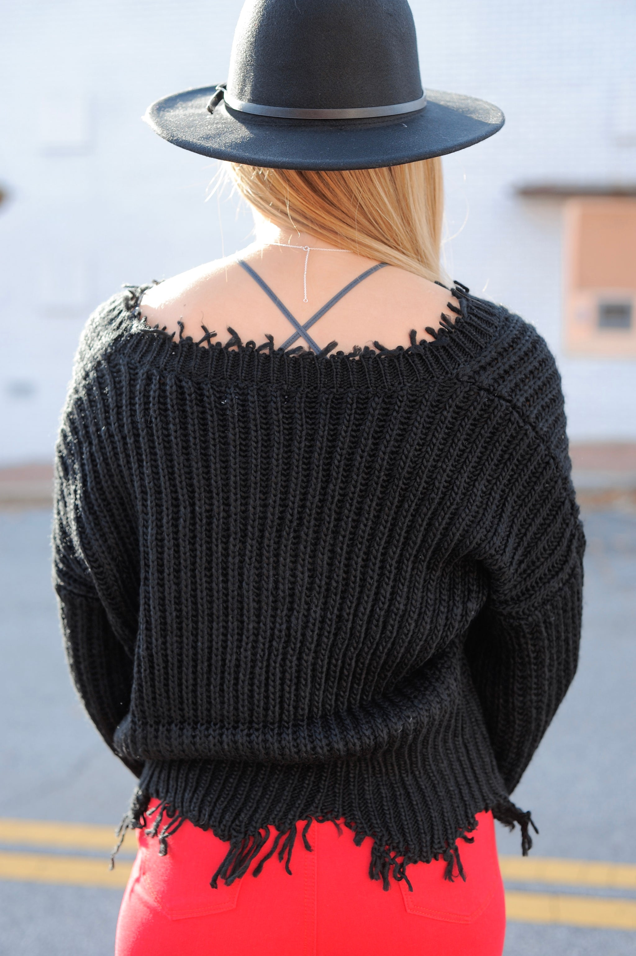 Charlie Distressed Sweater - Black