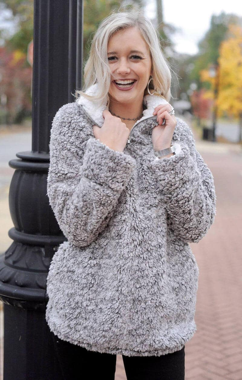 Two tone warm super soft pullover