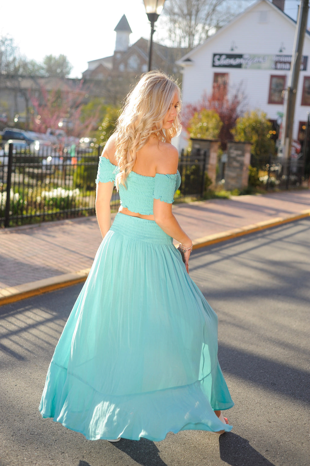 Aqua Smocked Crop Top/ Maxi Skirt Set