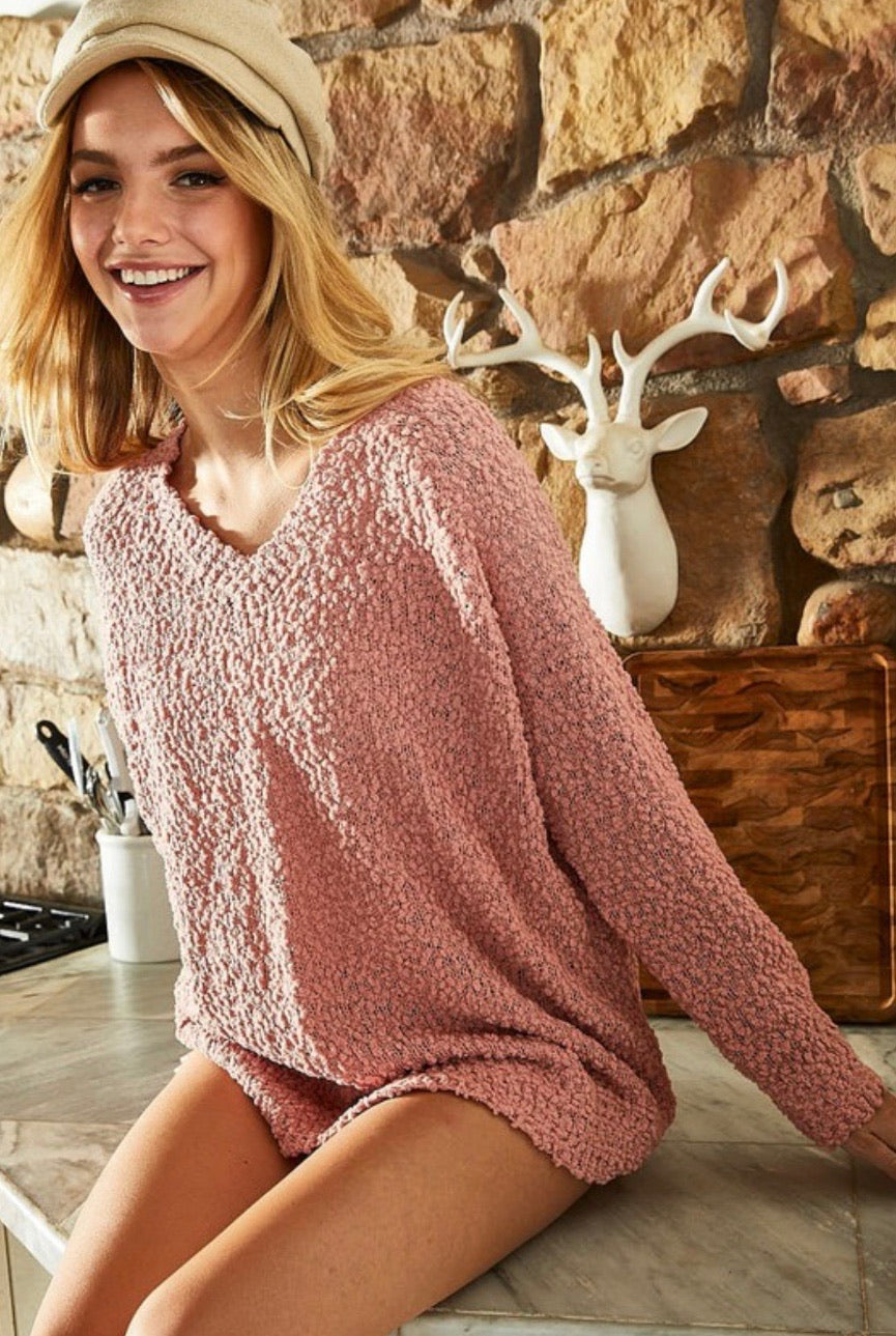 Blush V Neck Popcorn Sweater