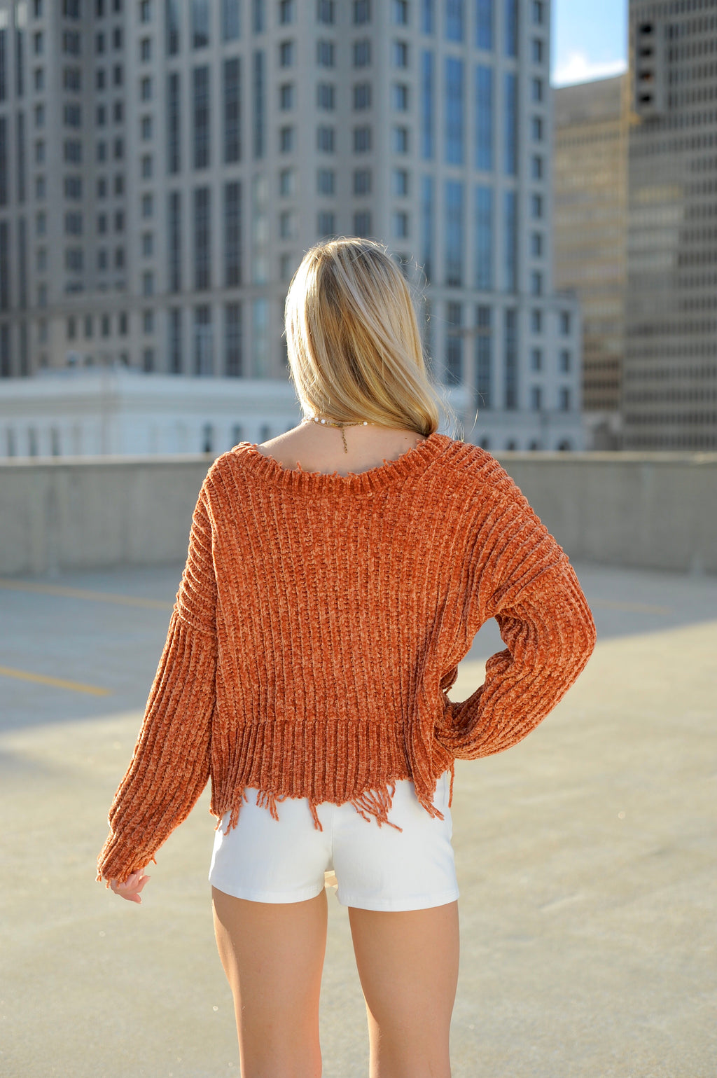 Knitted Orange V Neck Sweater