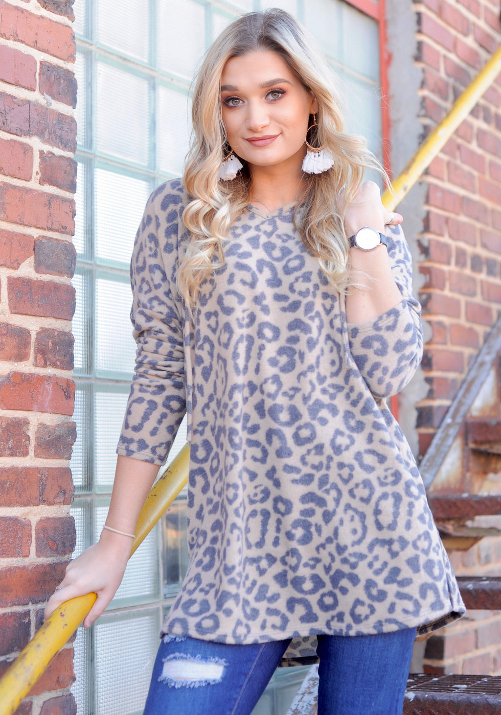 Leopard Hacci Hooded Pullover