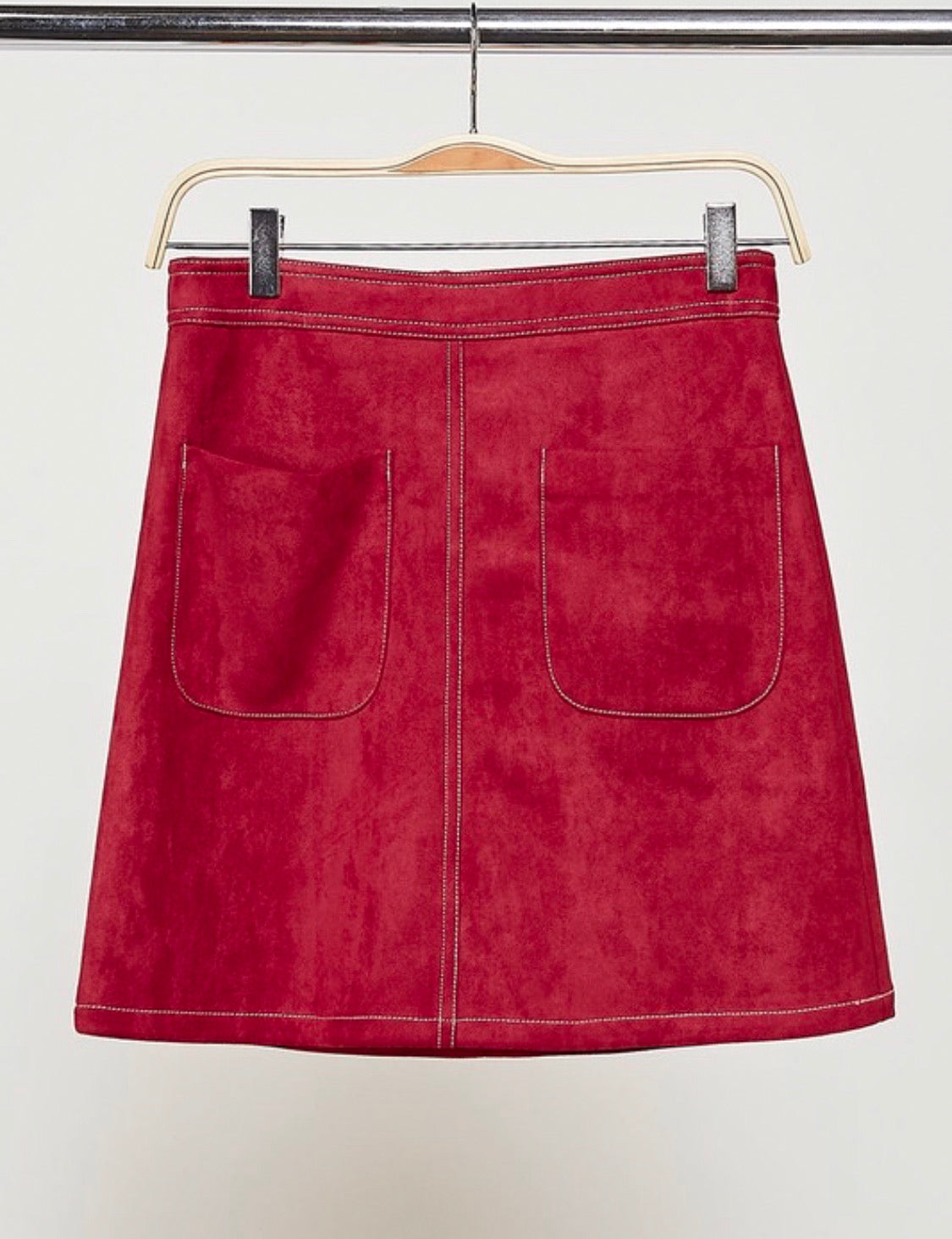 Front Pouch Suede Burgundy Skirt