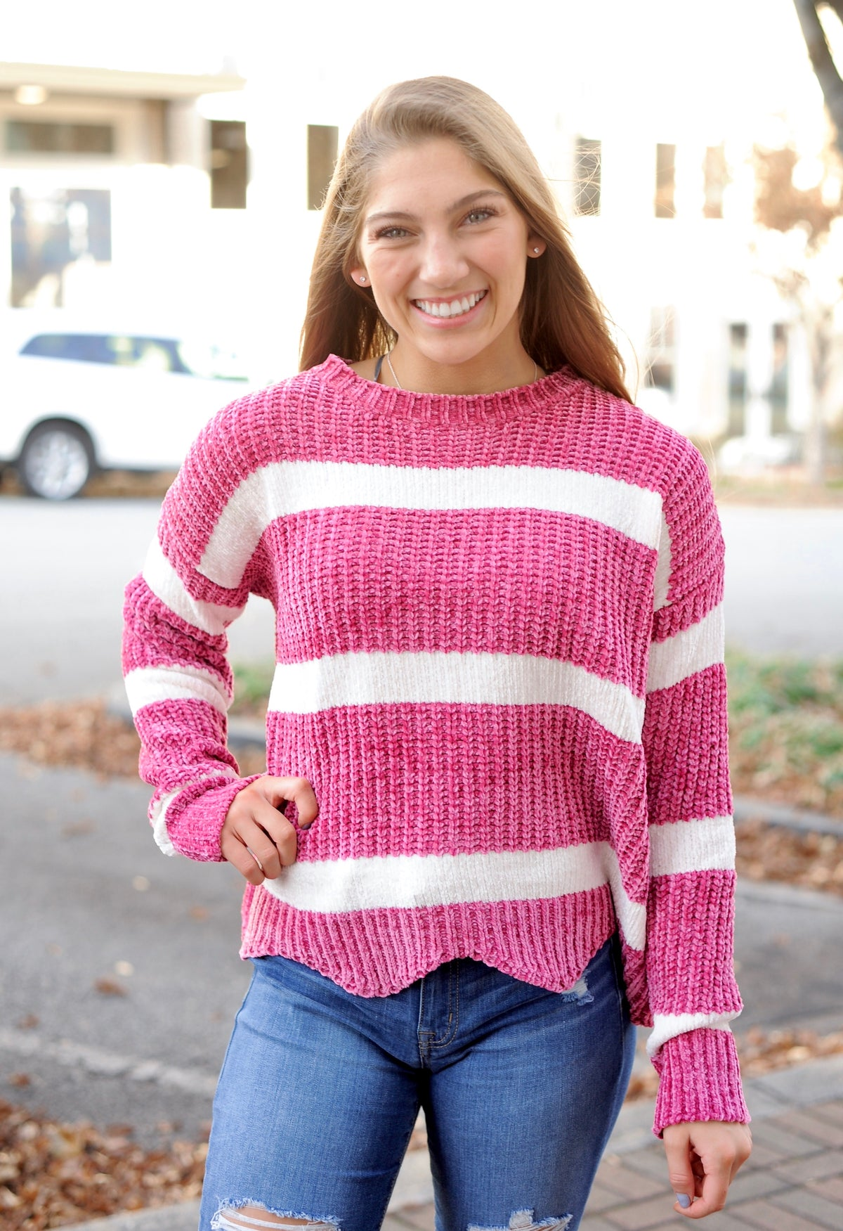 Berry Striped Scalloped Sweater