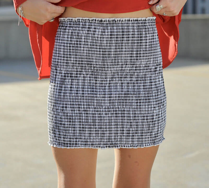 B&W Smocked Gingham Skirt