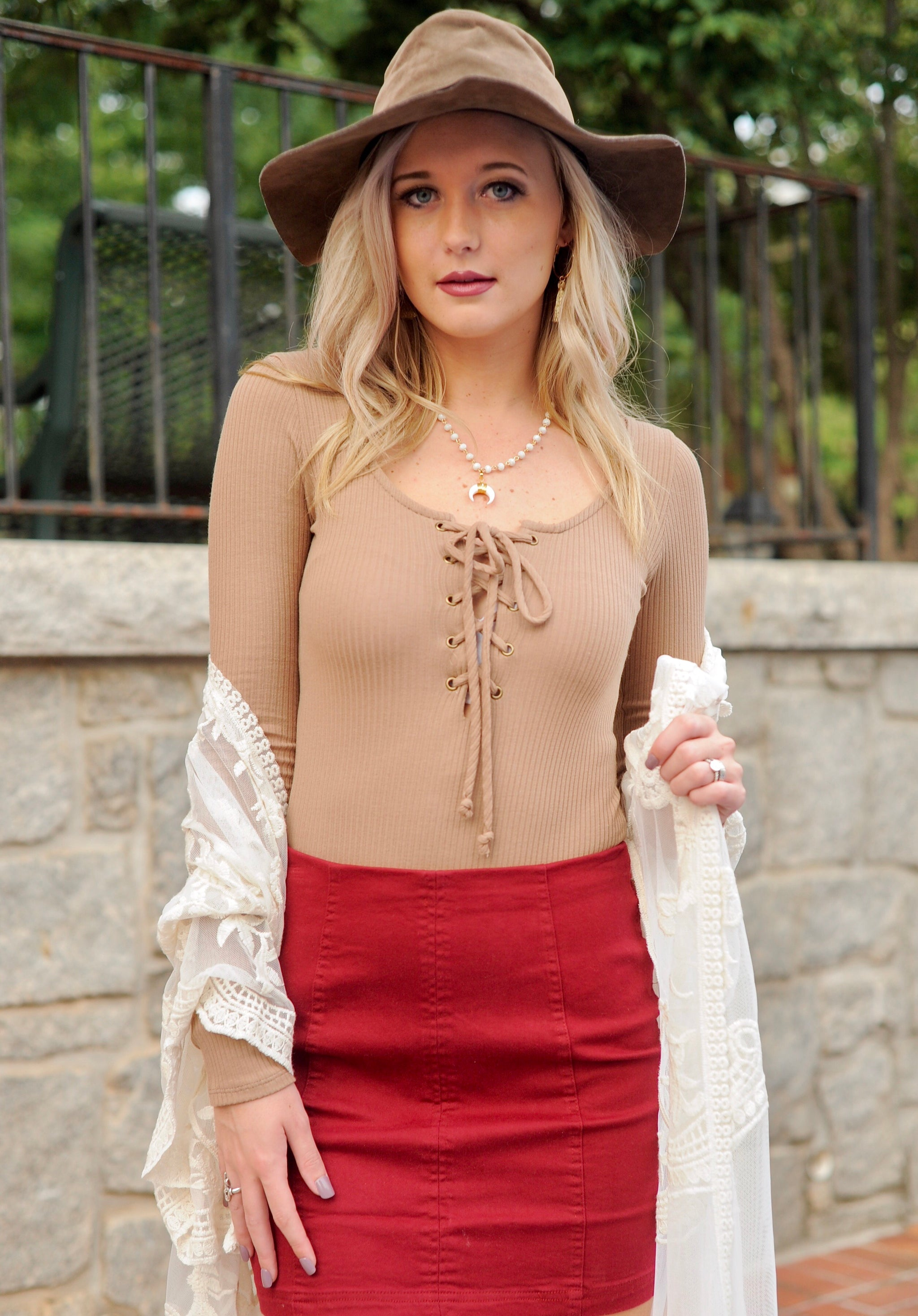 Mocha Lace Up Bodysuit