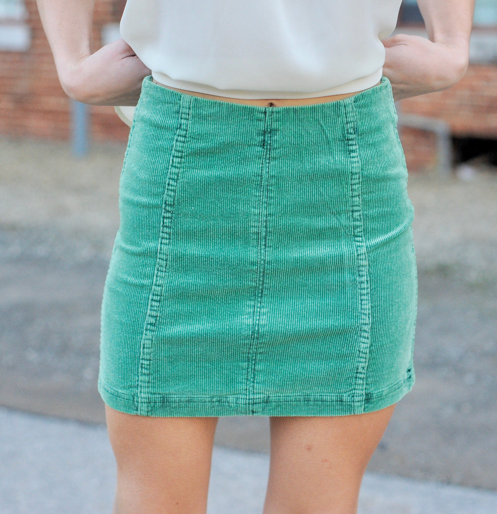 Washed Out Green Corduroy Skirt
