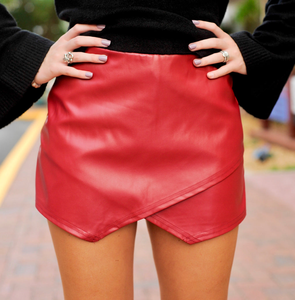 Leather Envelope Skort- Burgundy