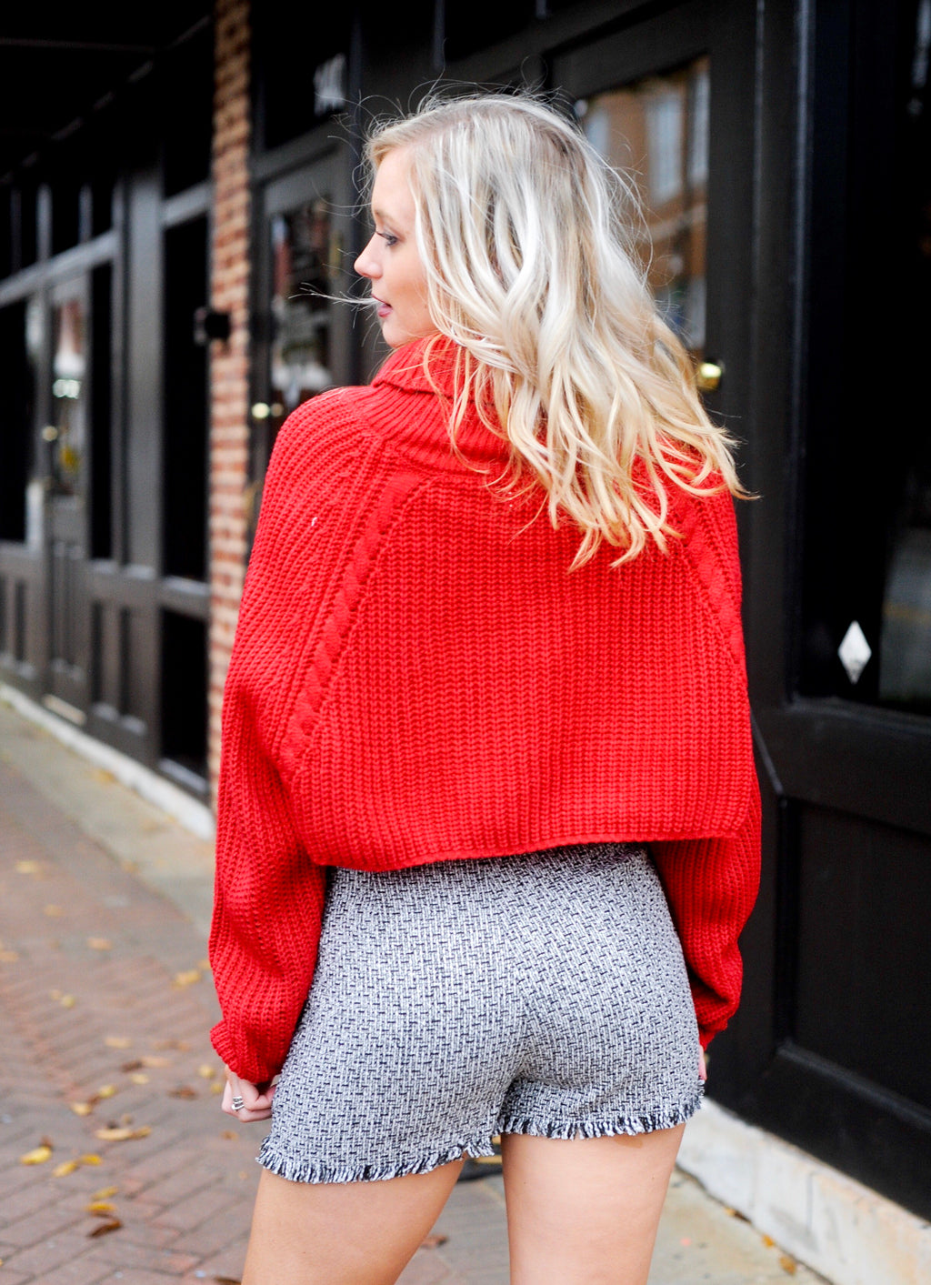 Red Cropped Turtle neck Sweater with cute Skort - back view