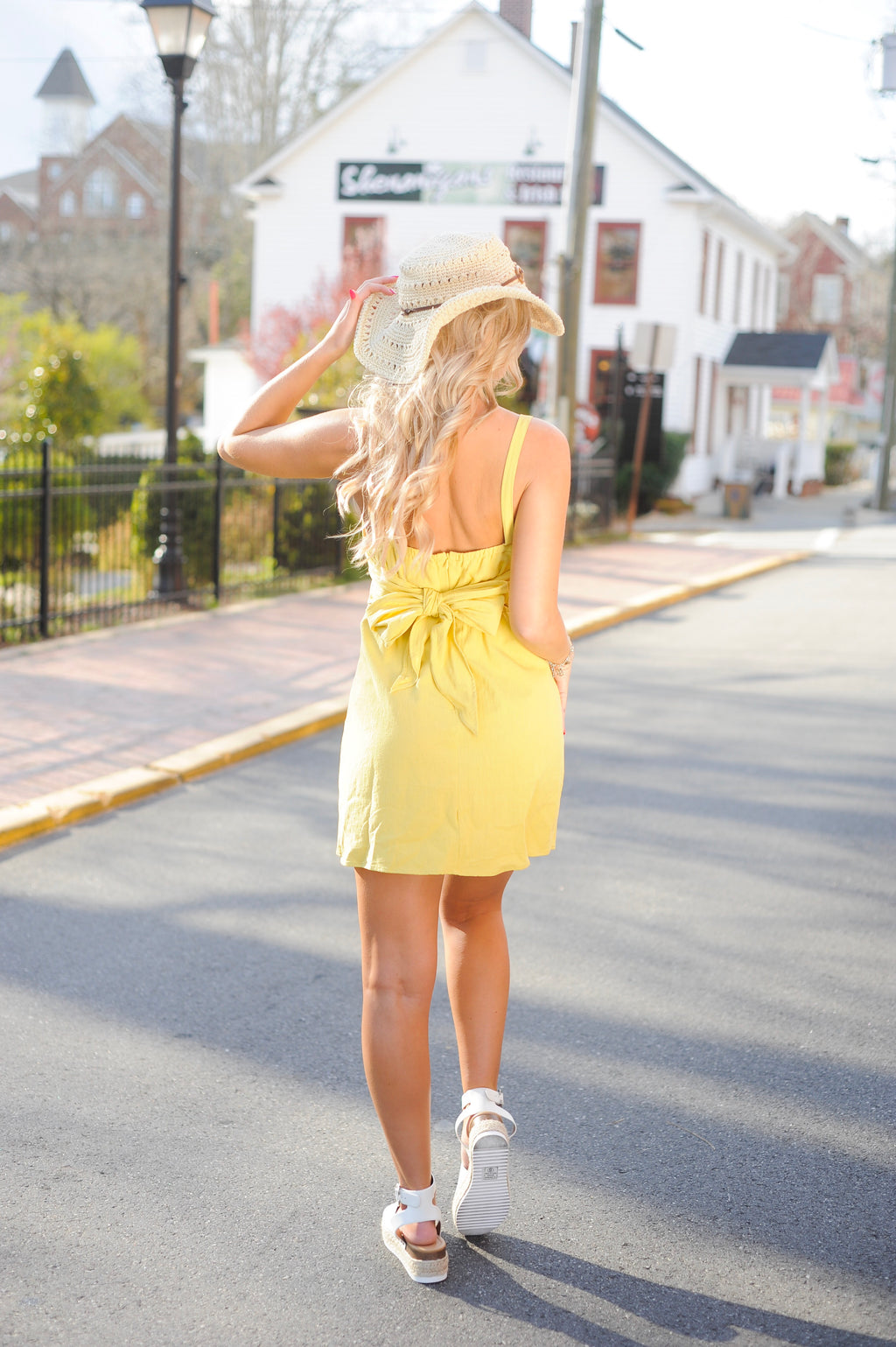 Yellow Side Button Dress
